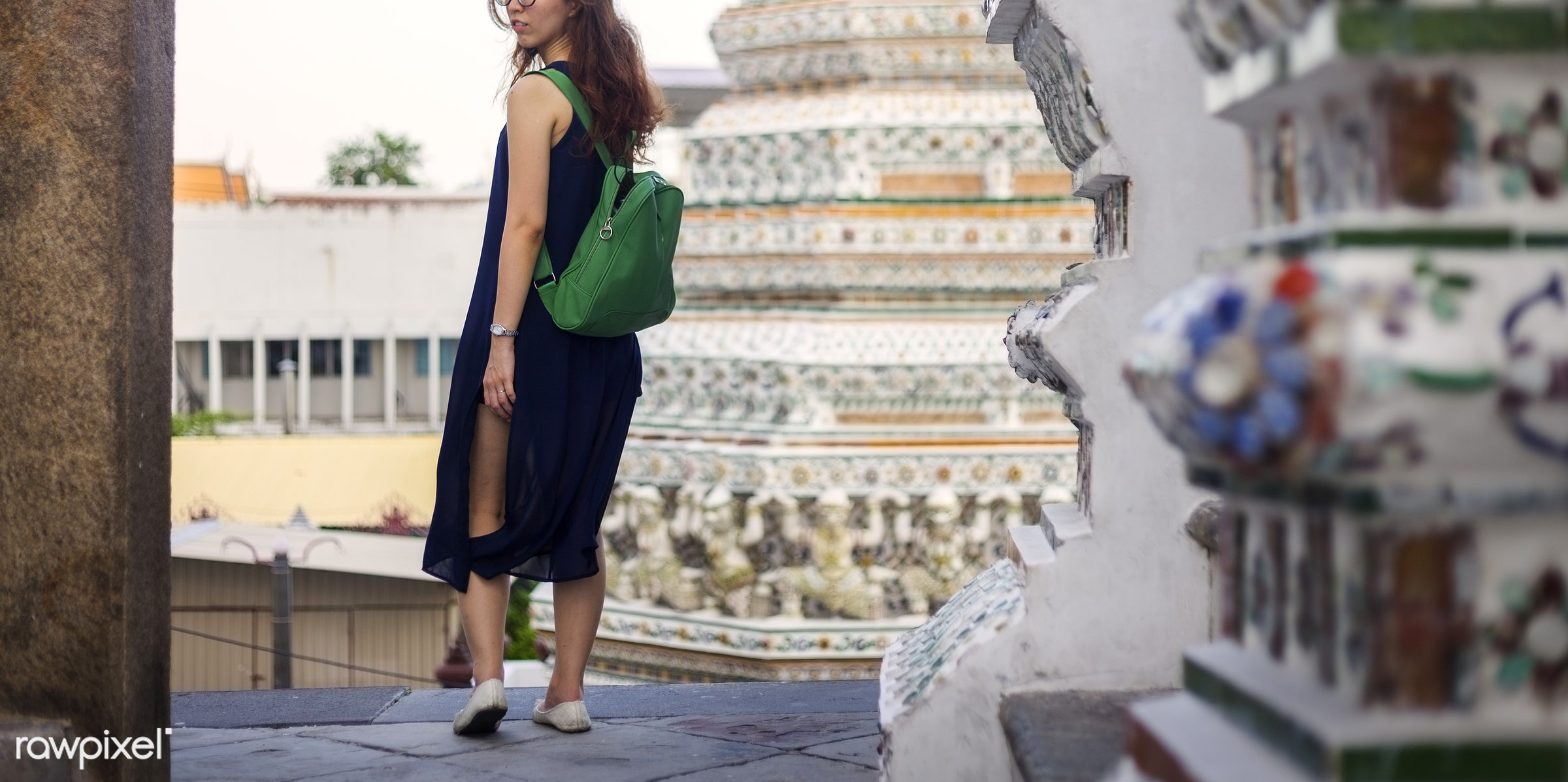 travel, alone, asian, back, bag, black, buddhism, explore, female, one, outdoors, people, person, religion, side, solo,...