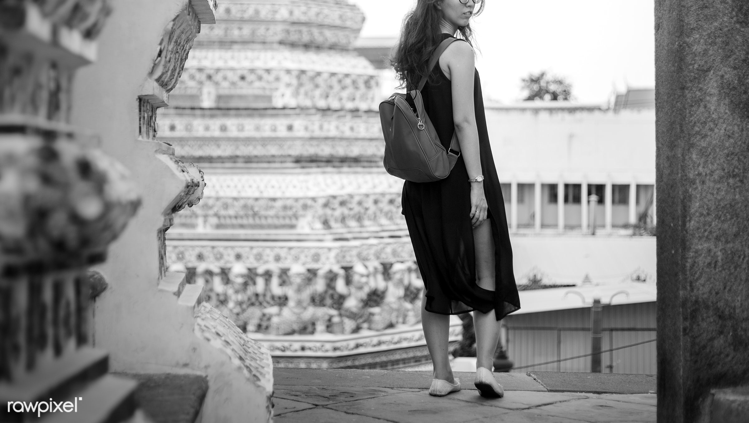 alone, asian, back, bag, black, buddhism, explore, female, one, outdoors, people, person, religion, side, solo, temple, thai...