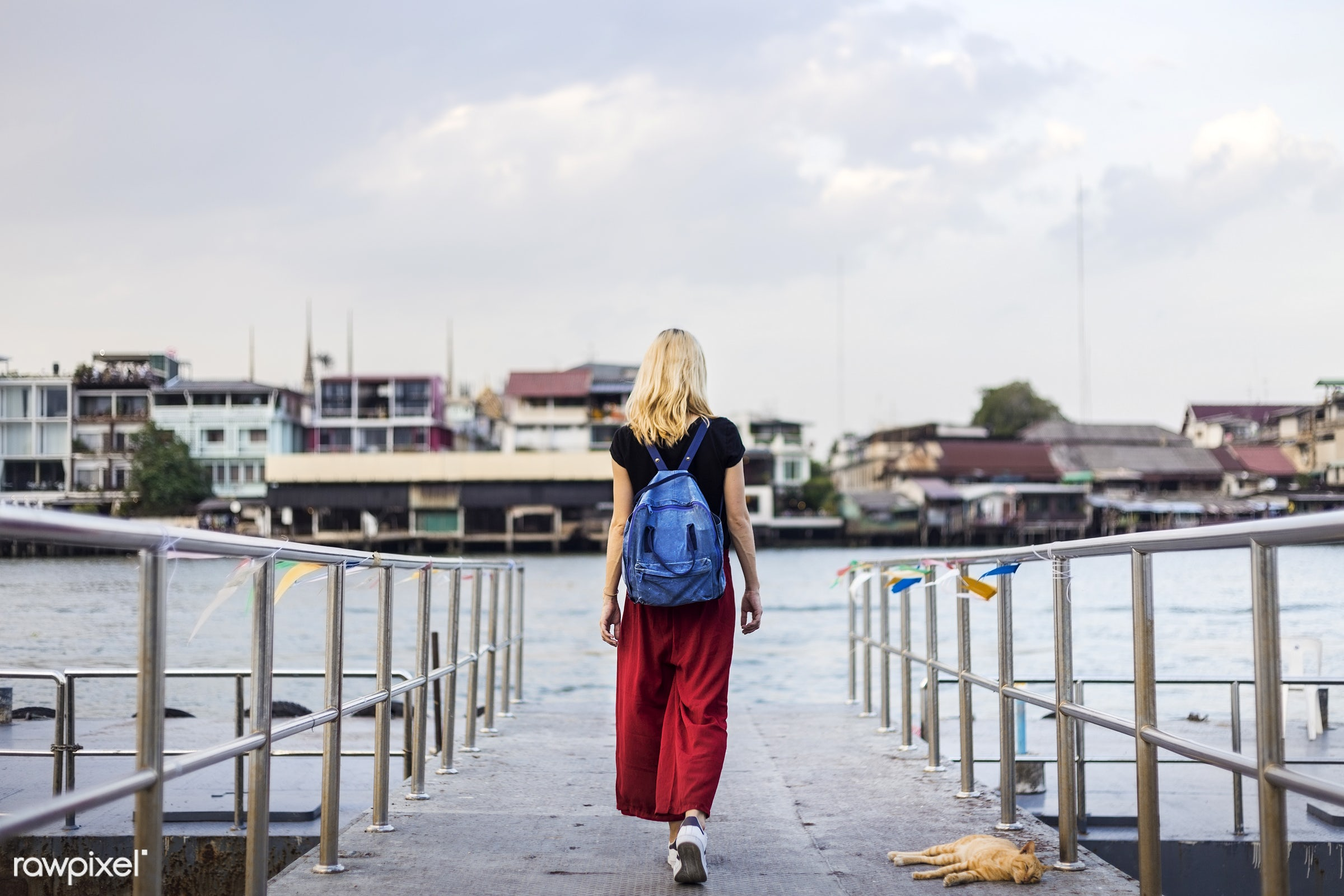 woman, adult, alone, back, bag, blonde, dock, explore, female, one, outdoors, people, person, river, riverside, solo, sweden...