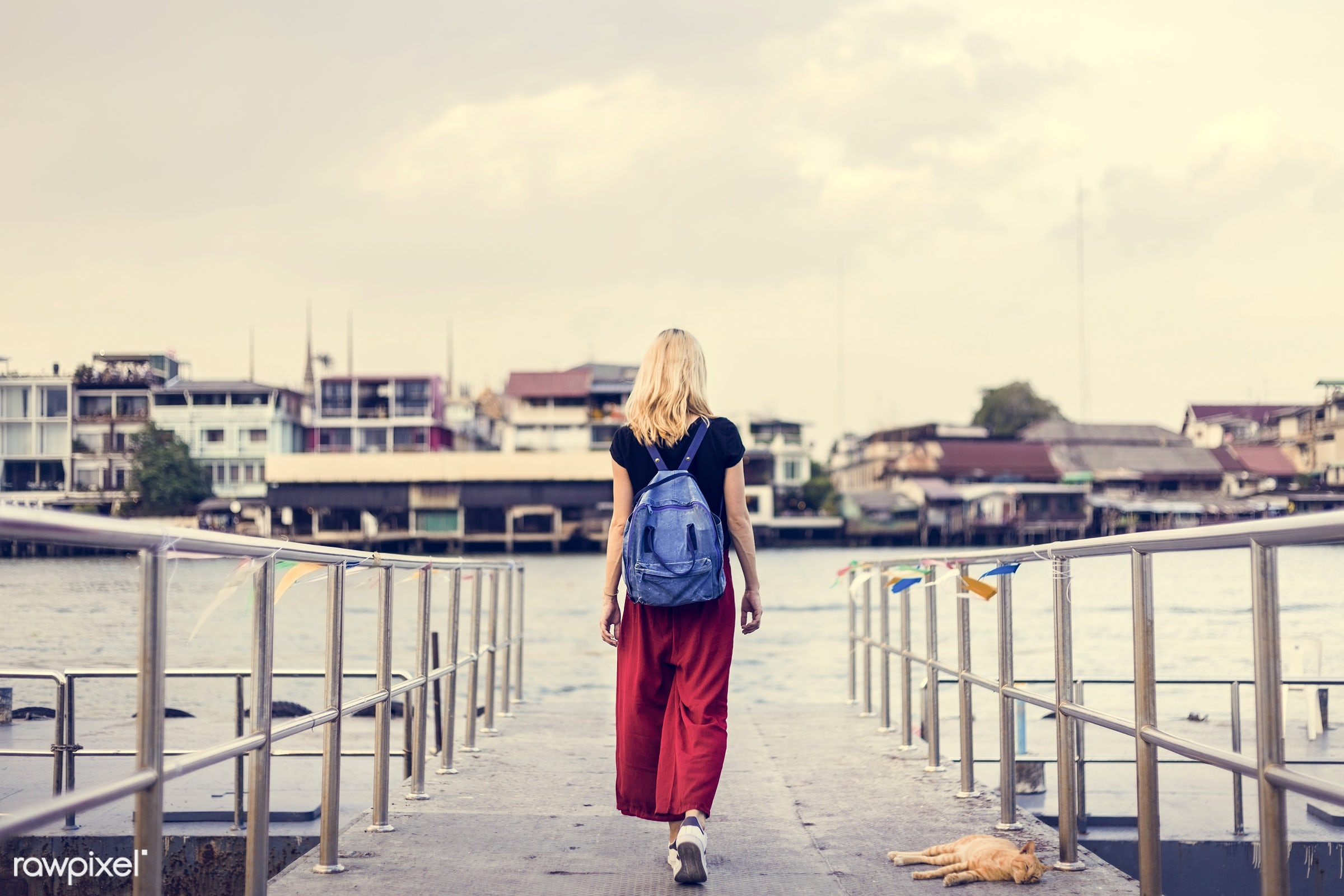 alone, back, bag, blonde, caucasian, dock, explore, female, one, outdoors, people, person, river, riverside, solo, sweden,...