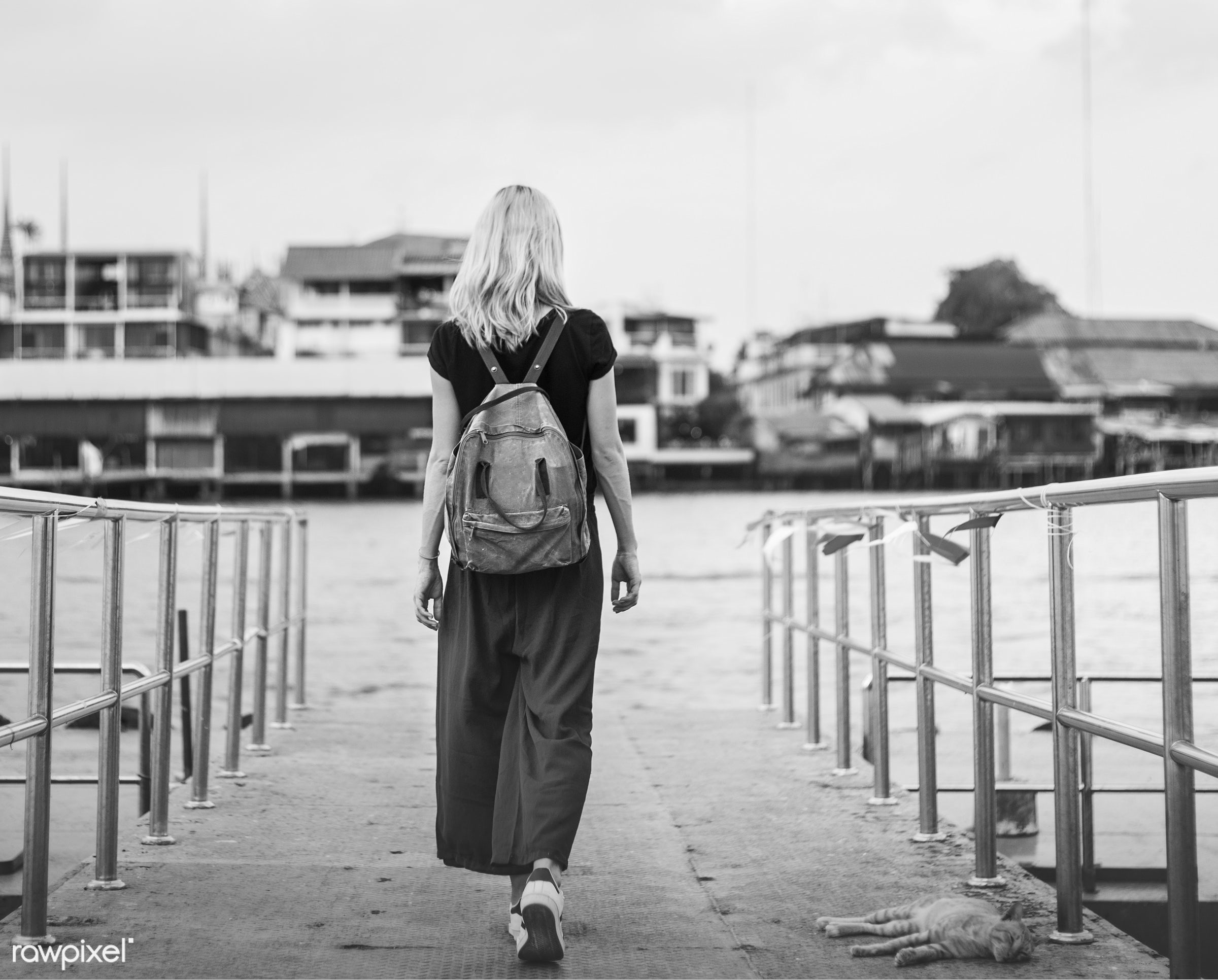alone, back, bag, blonde, dock, explore, female, one, outdoors, people, person, river, riverside, solo, sweden, swedish,...