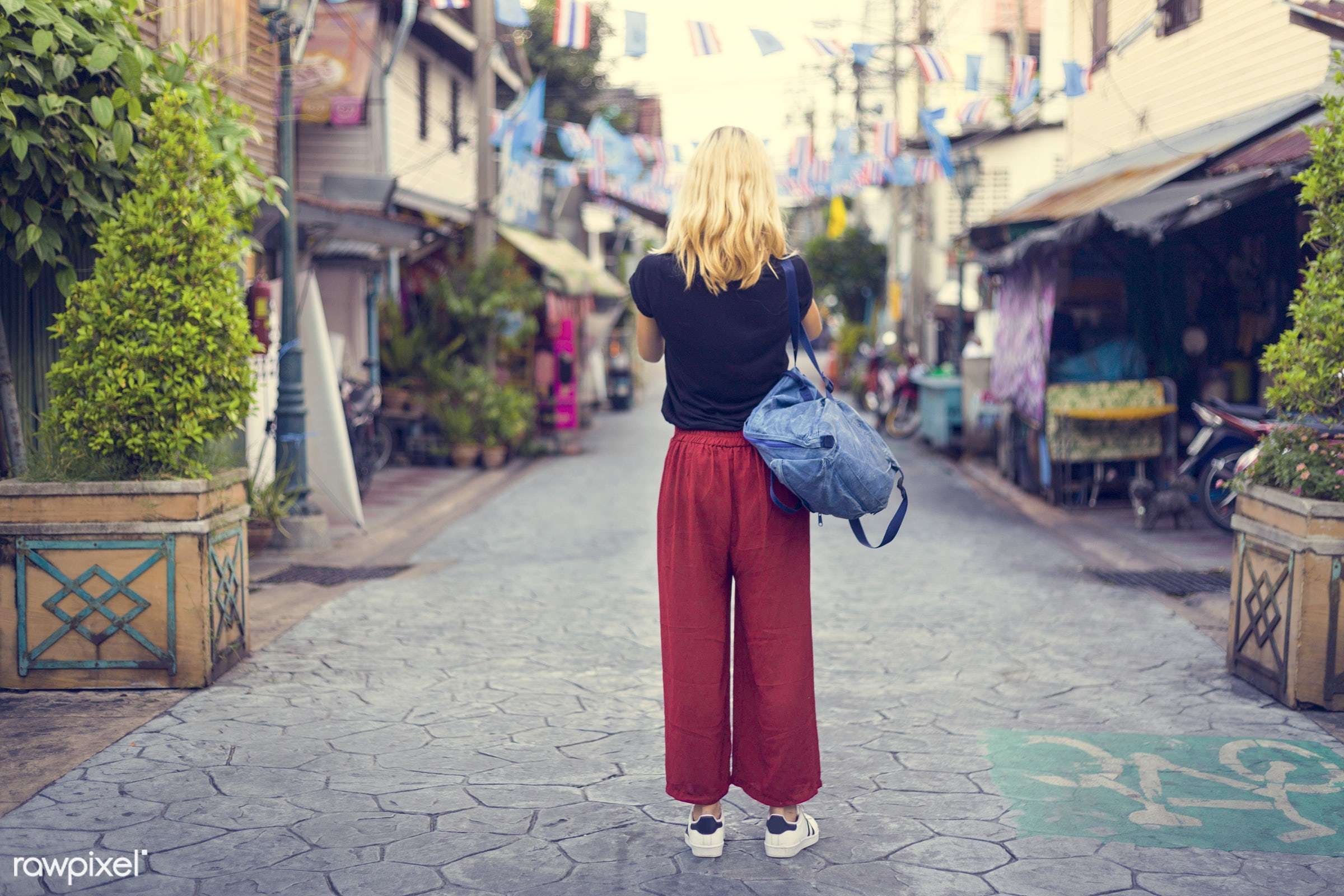 alone, bag, blonde, caucasian, chill, explore, female, one, outdoors, people, person, relax, shooting, solo, standing,...