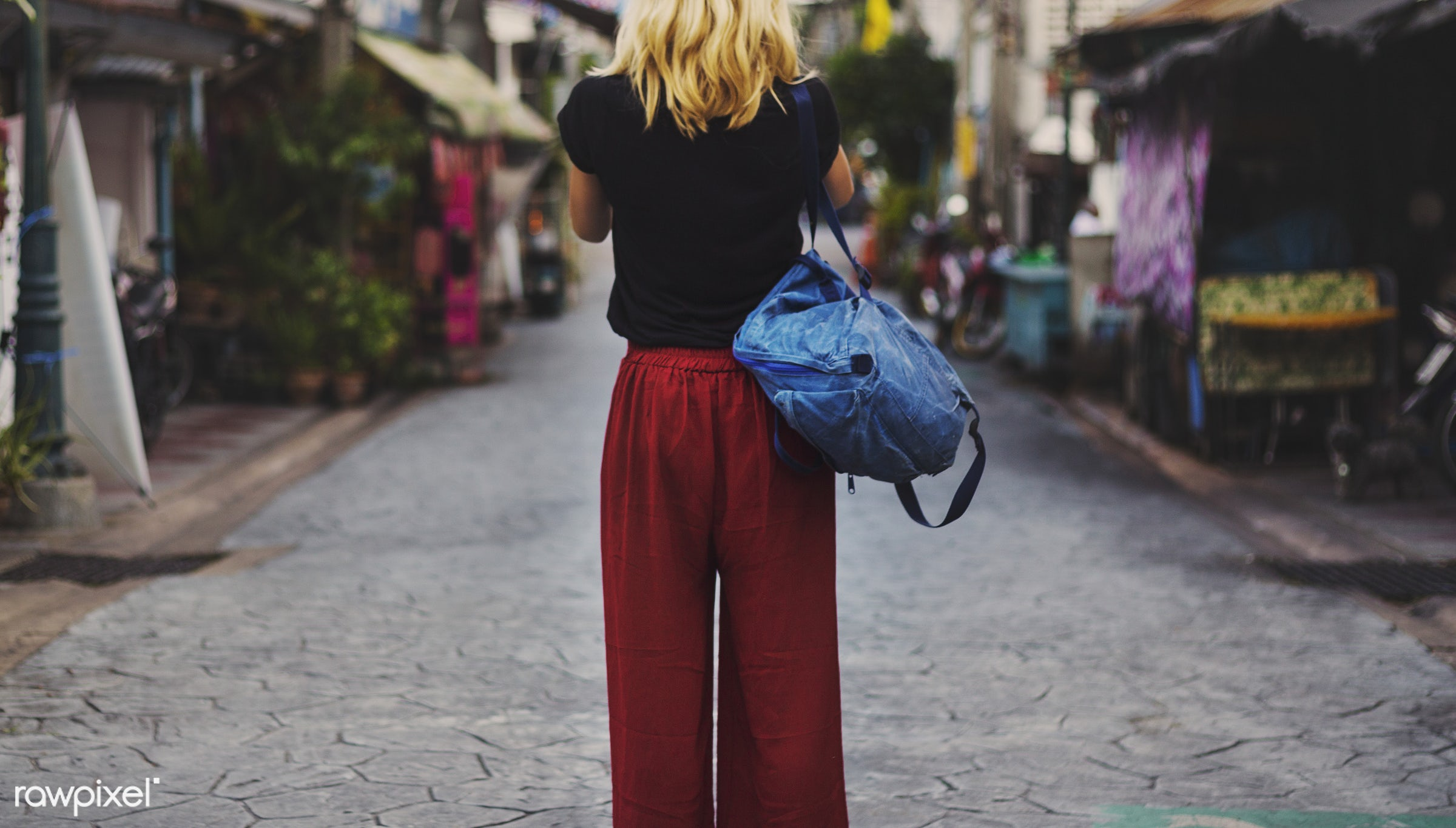 explore, woman, alone, back, bag, blonde, camera, caucasian, female, one, outdoors, people, person, shooting, solo, street,...