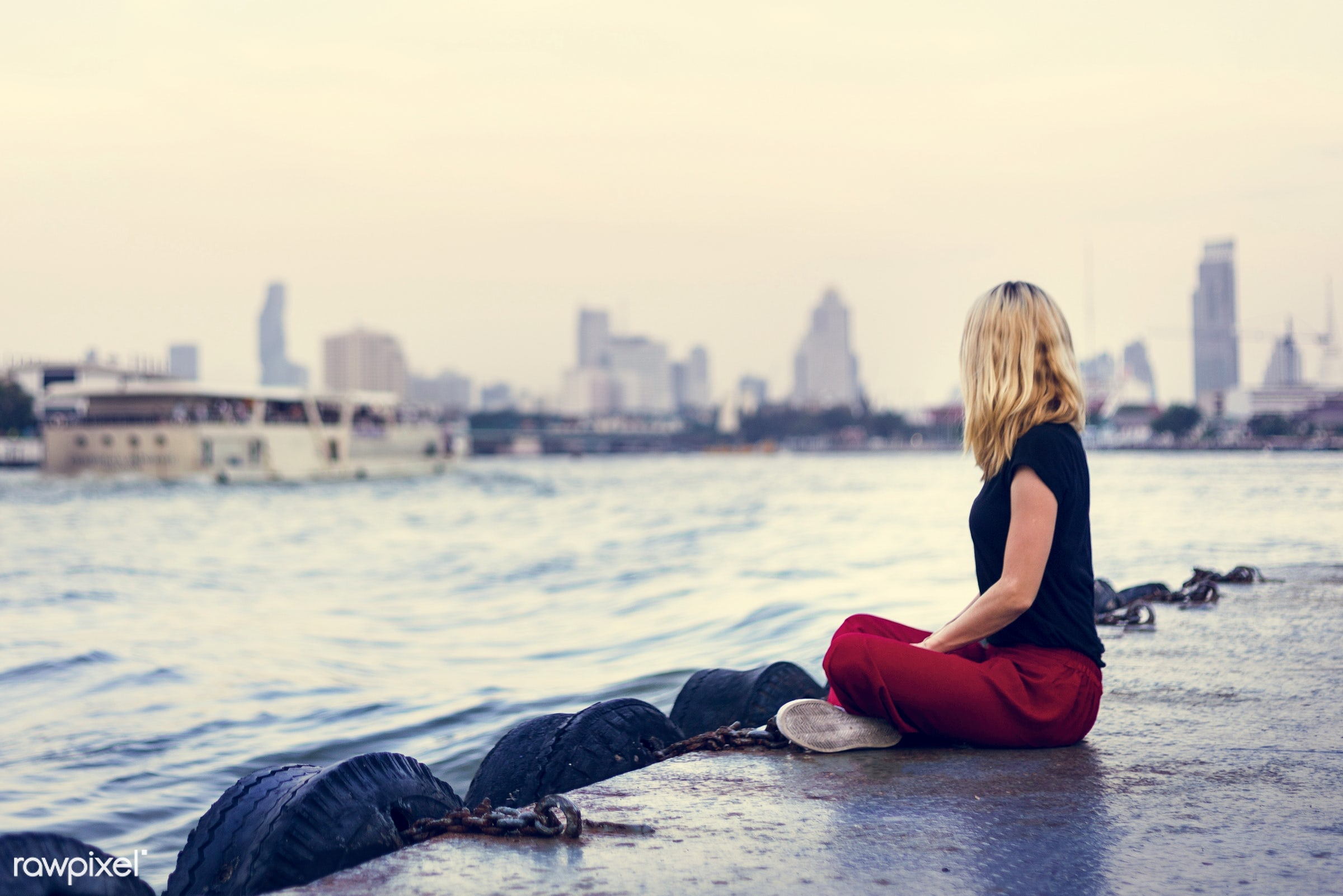 adult, alone, back, bag, blonde, caucasian, dock, explore, female, one, outdoors, people, person, river, riverside, solo,...