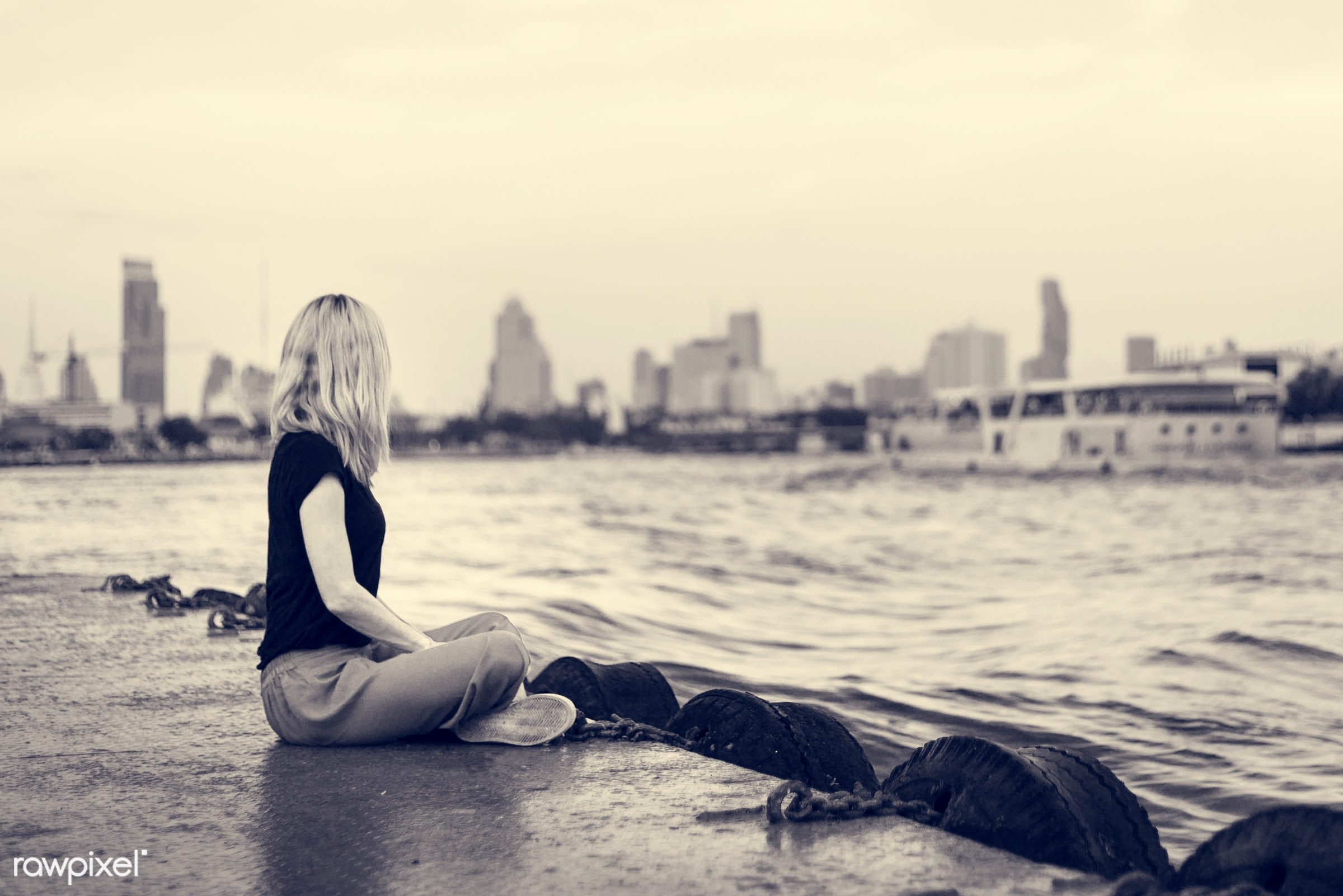 alone, blonde, caucasian, chill, dock, explore, female, one, outdoors, people, person, relax, river, riverside, sitting,...