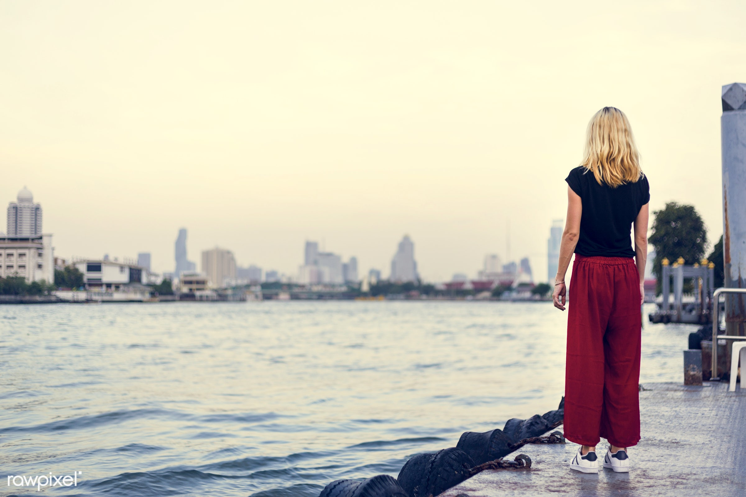 alone, back, blonde, caucasian, chill, dock, explore, female, one, outdoors, people, person, relax, river, riverside, solo,...
