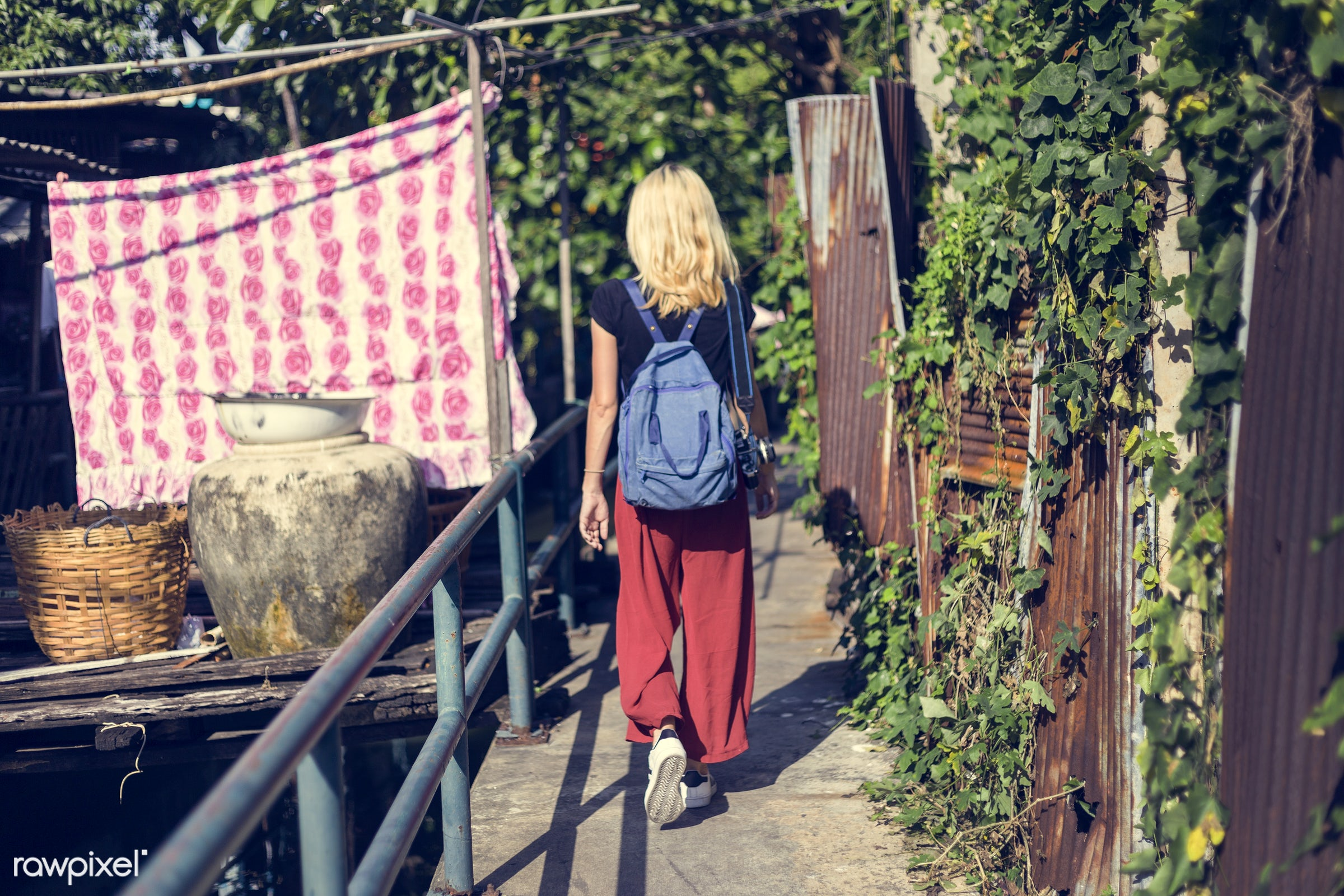 alley, alone, back, bag, blonde, canal, caucasian, explore, female, one, outdoors, people, person, solo, sweden, swedish,...