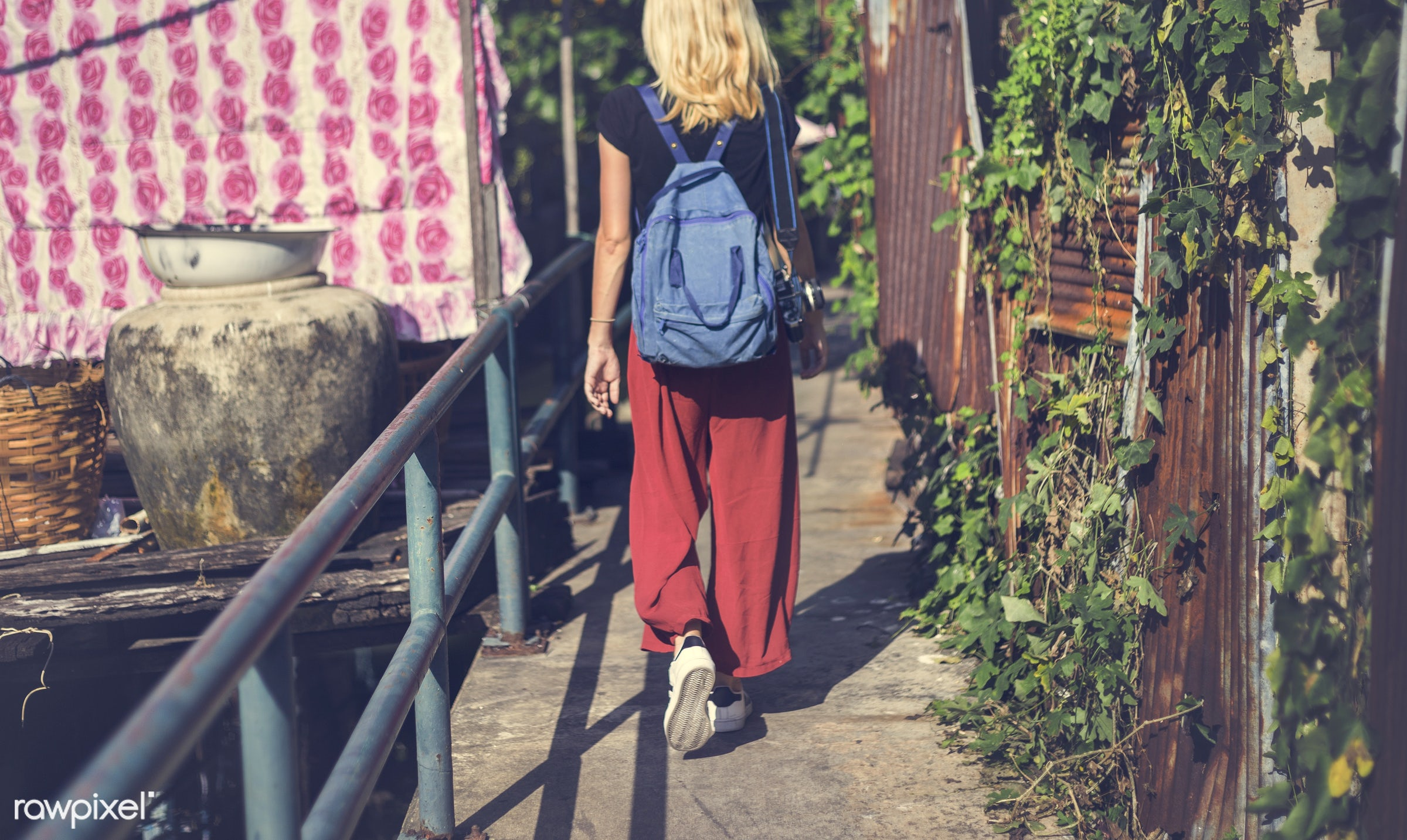 adult, alley, alone, back, bag, blonde, canal, caucasian, explore, female, one, outdoors, people, person, solo, sweden,...