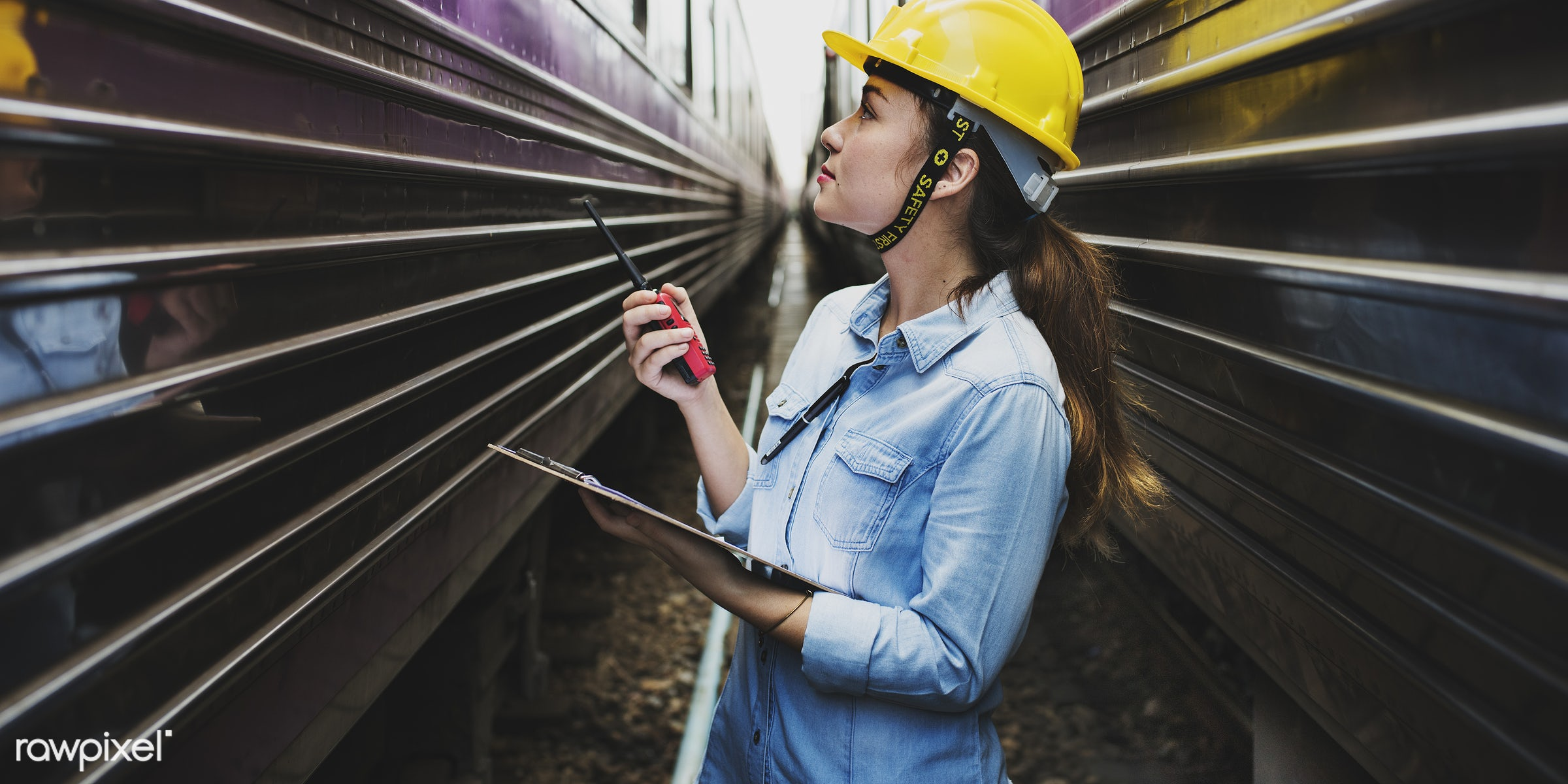 Female inspector at - architect, architecture, asian, assistance, career, clipboard, construction, contractor, control,...