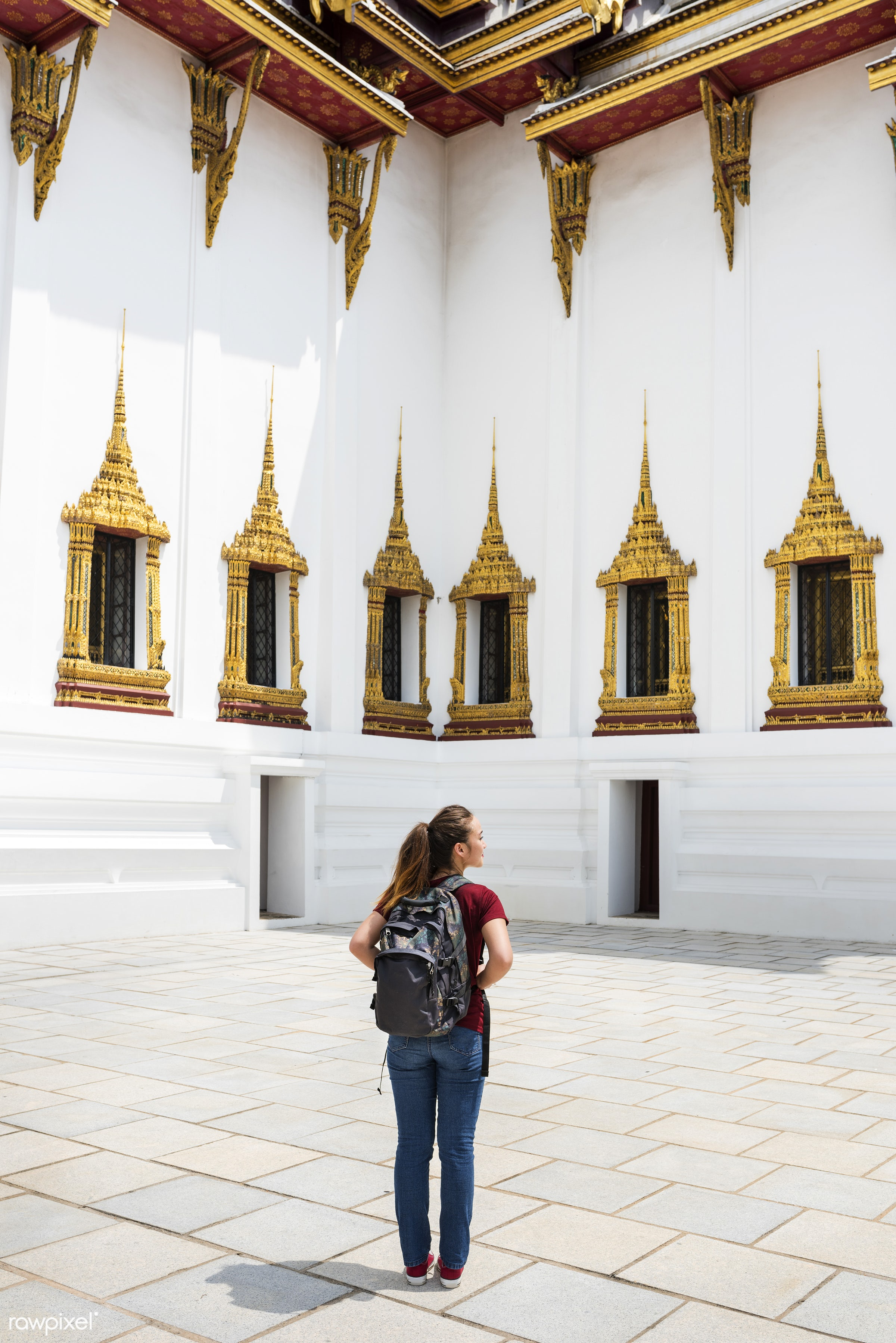 Young woman traveling through Thailand - activity, adventure, ancient, architecture, asia, bangkok, buddha, buddhism,...