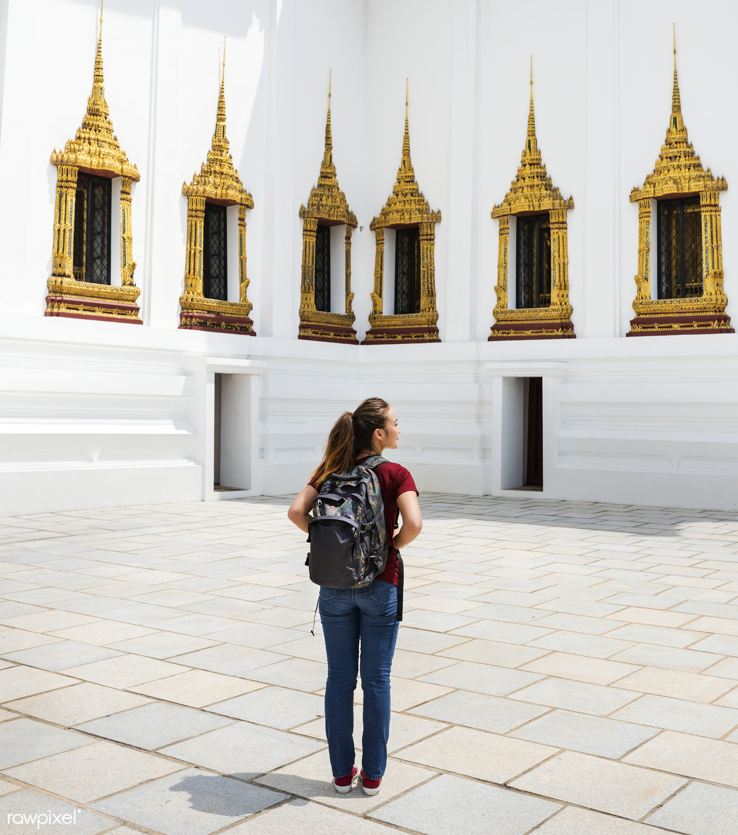 Woman Traveler Thailand Destination Culture Concept - activity, adventure, ancient, architecture, asia, asian ethnicity,...