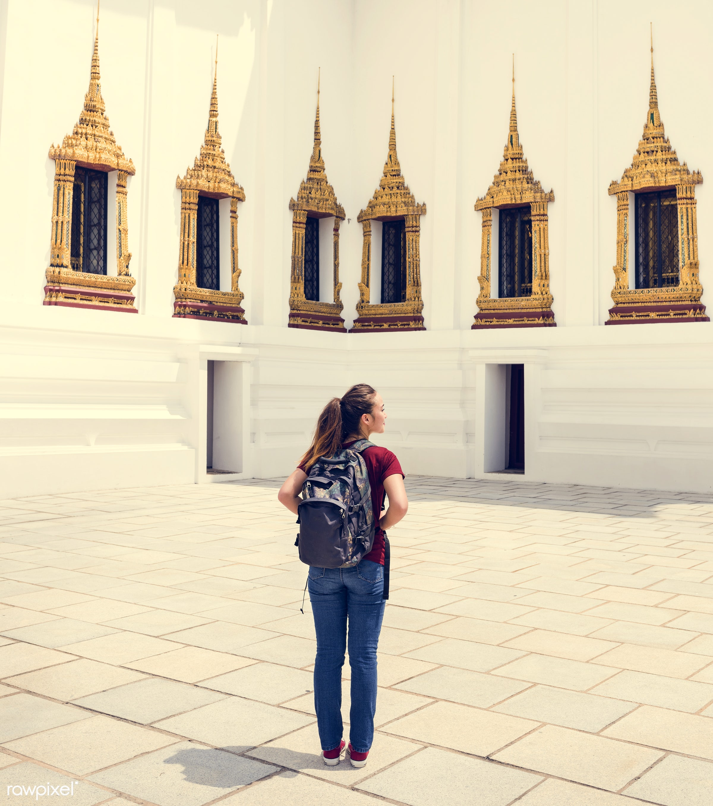 Young woman traveling through Thailand - activity, adventure, ancient, architecture, asia, asian ethnicity, bangkok, buddha...