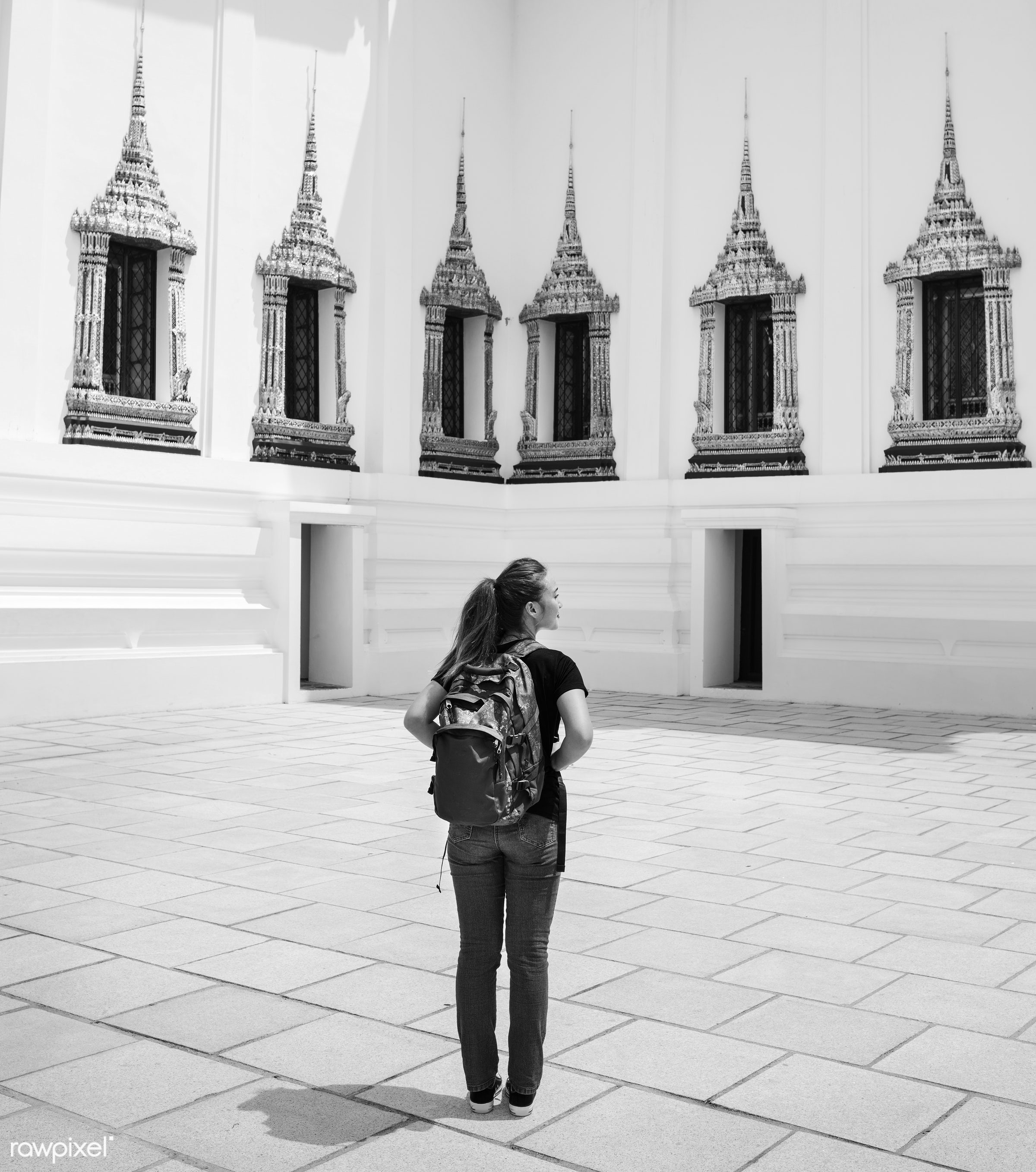 Young woman traveling through Thailand - bangkok, location, activity, adventure, ancient, architecture, asia, buddha,...