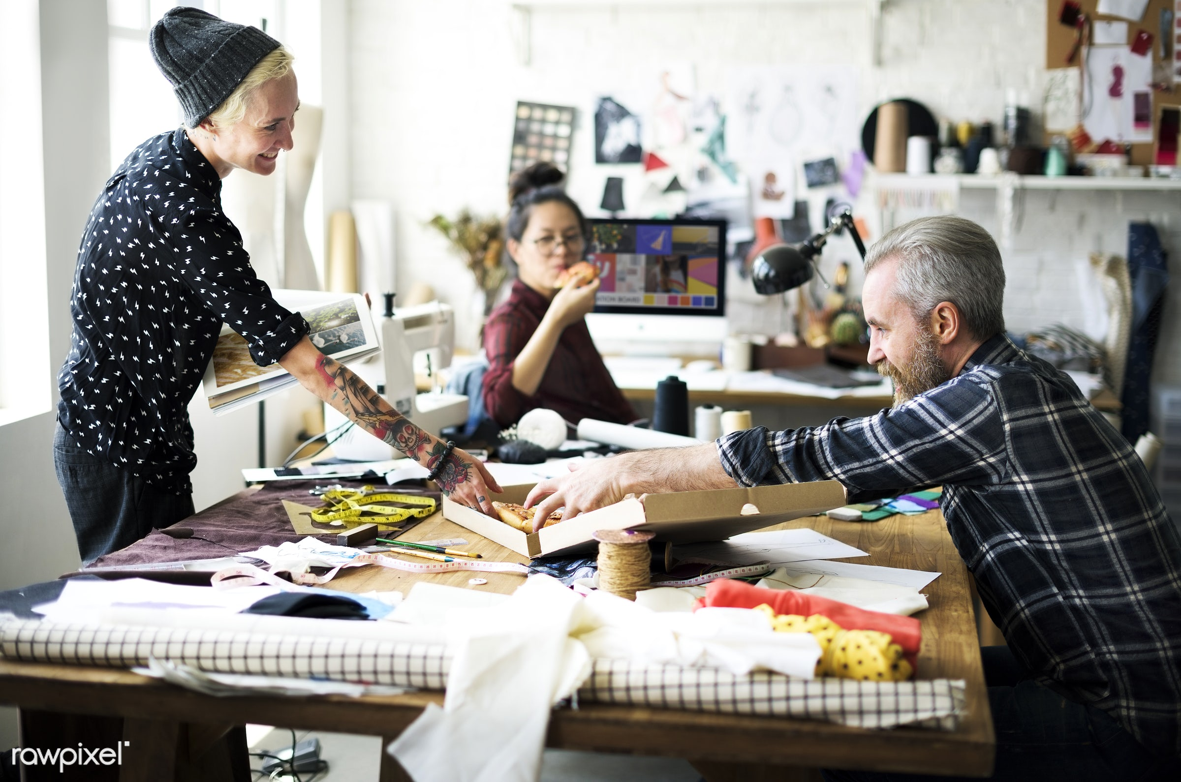studio, craft, designing, profession, busy, equipment, production, break, teamwork, woman, lifestyle, thread, partner,...
