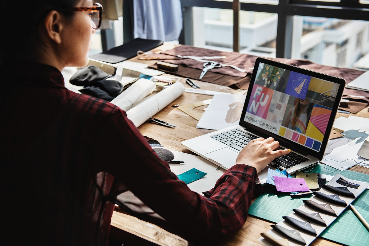 Fashion working with her laptop