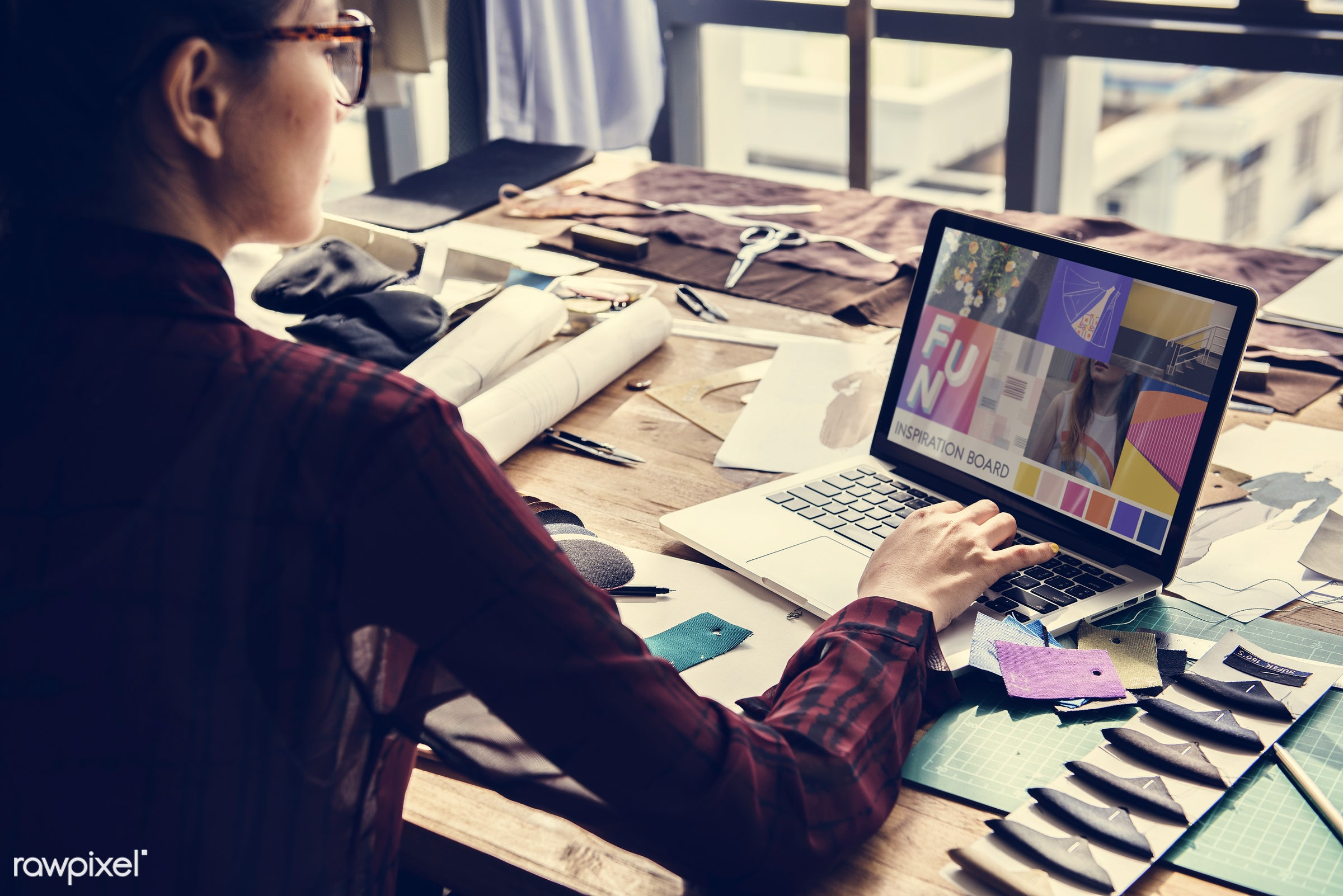 trends, studio, computer, reflection, person, idea, concept, fashion, technology, designing, profession, comparing, seeking...