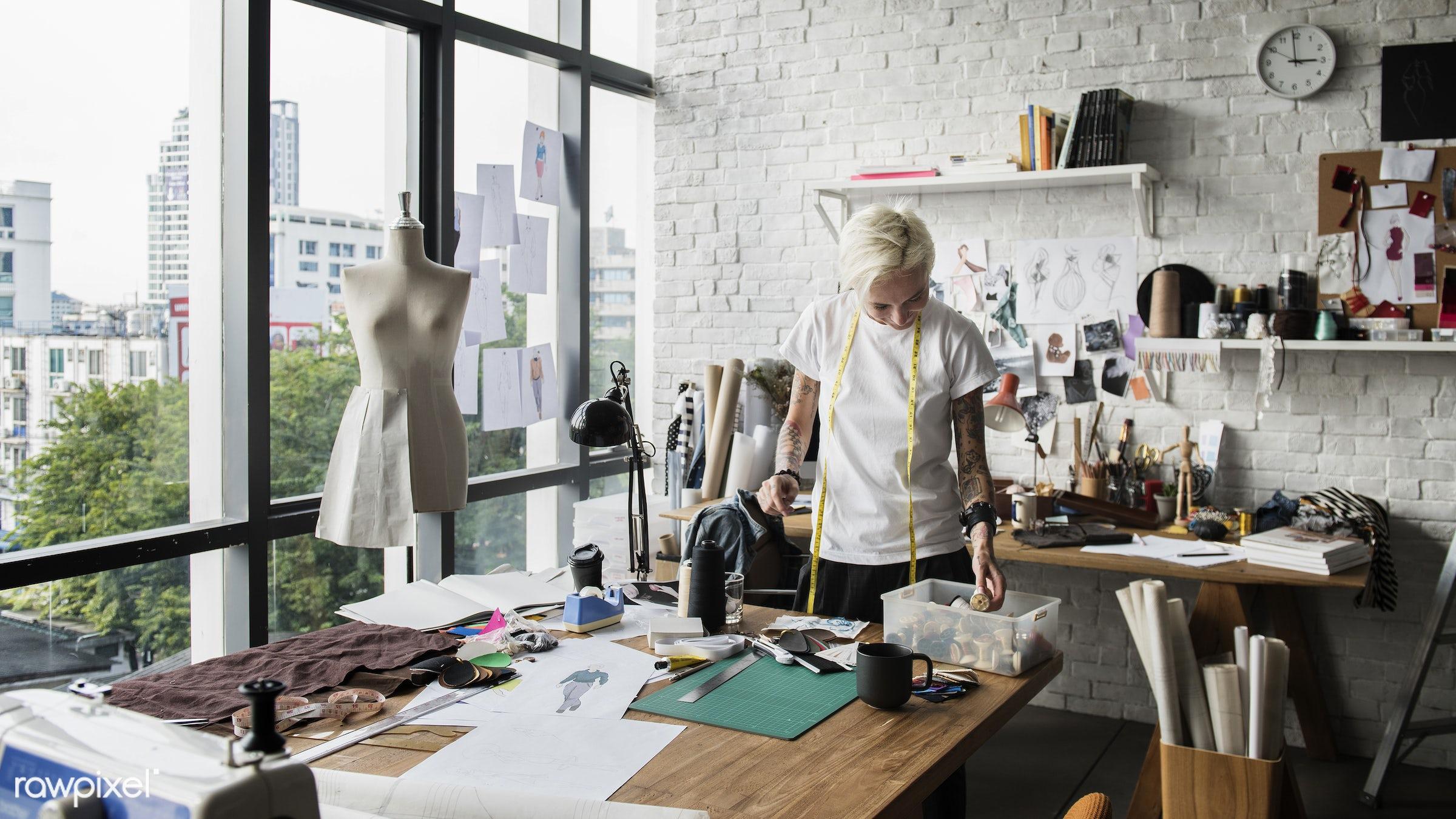 studio, craft, fashion, measure, clothing, handicraft, dressmaker, trendy, stylist, mannequin, creativity, style, cloth,...