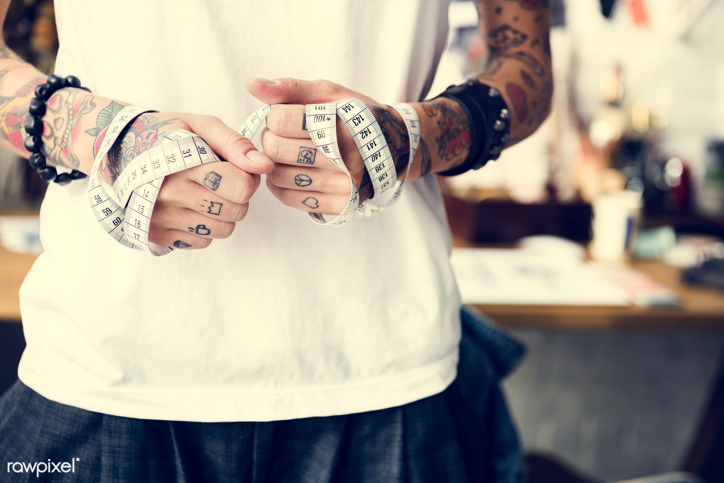 fashion, holding, taylor, stylist, style, hands, woman, casual, tattoo, hipster, designer, fashionable, showroom, tape...