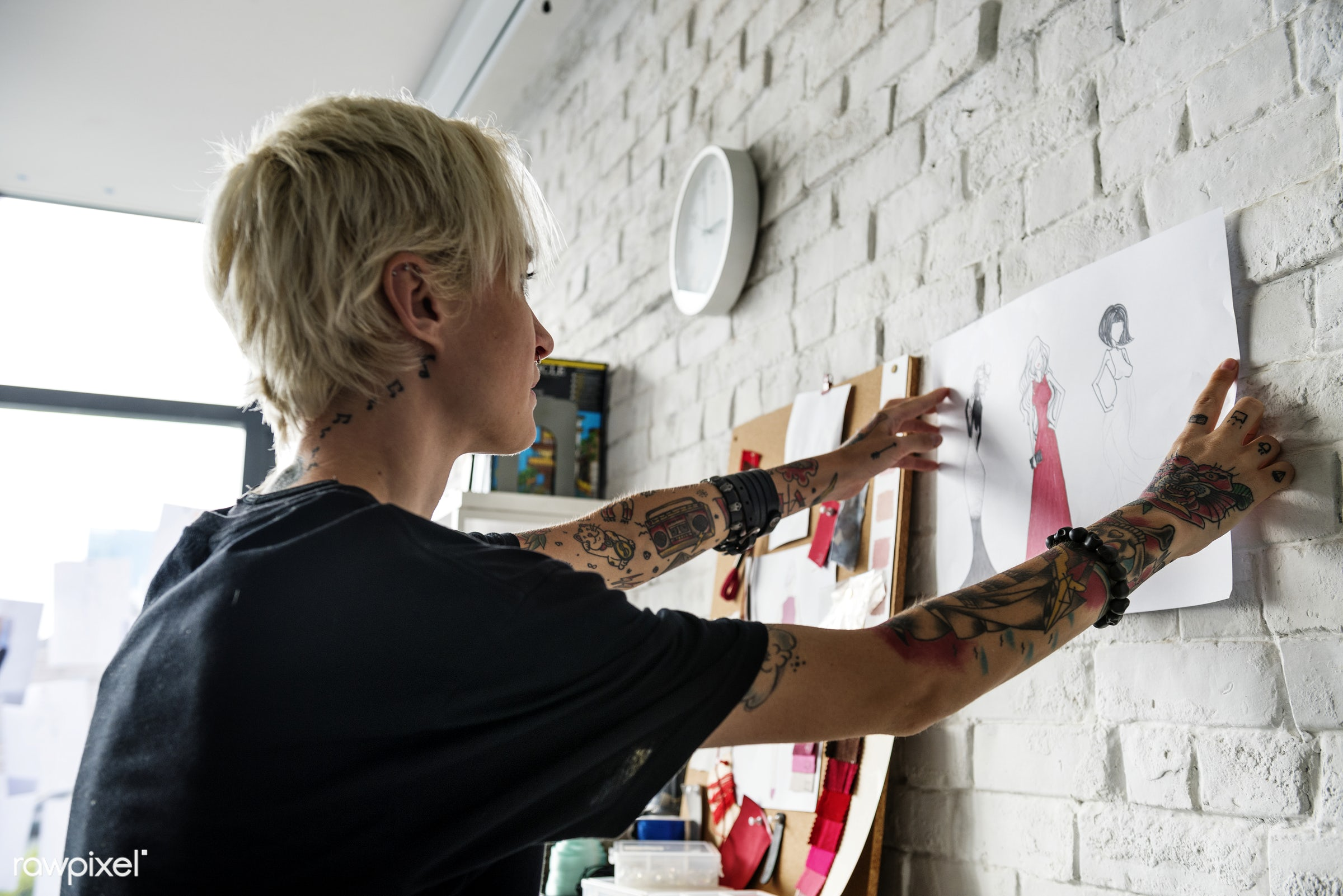 Fashion designer working in a studio - beauty, blond, board, clothes, clothing, clothings, craft, creative, designer, detail...