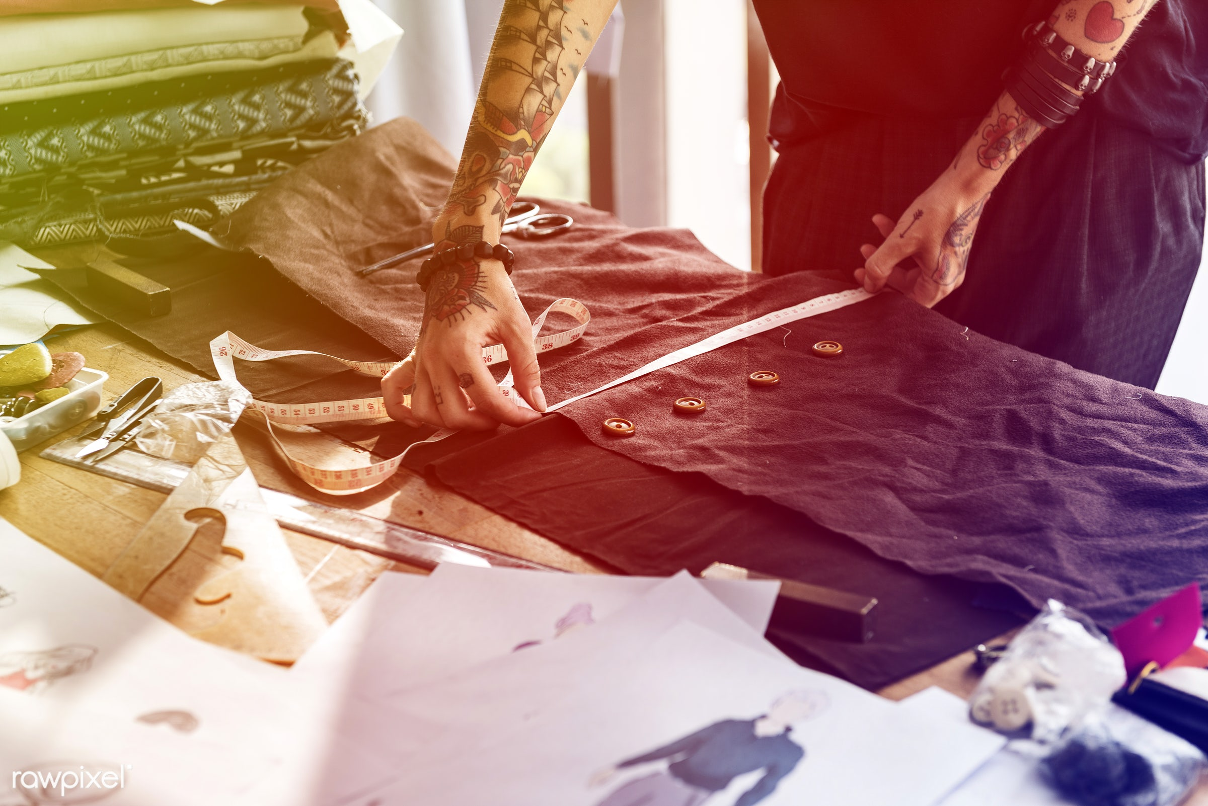 studio, store, handicraft, dressmaker, faded, yellow, vibrant, tailor made, woman, blend, lifestyle, tattoo, light, orange,...
