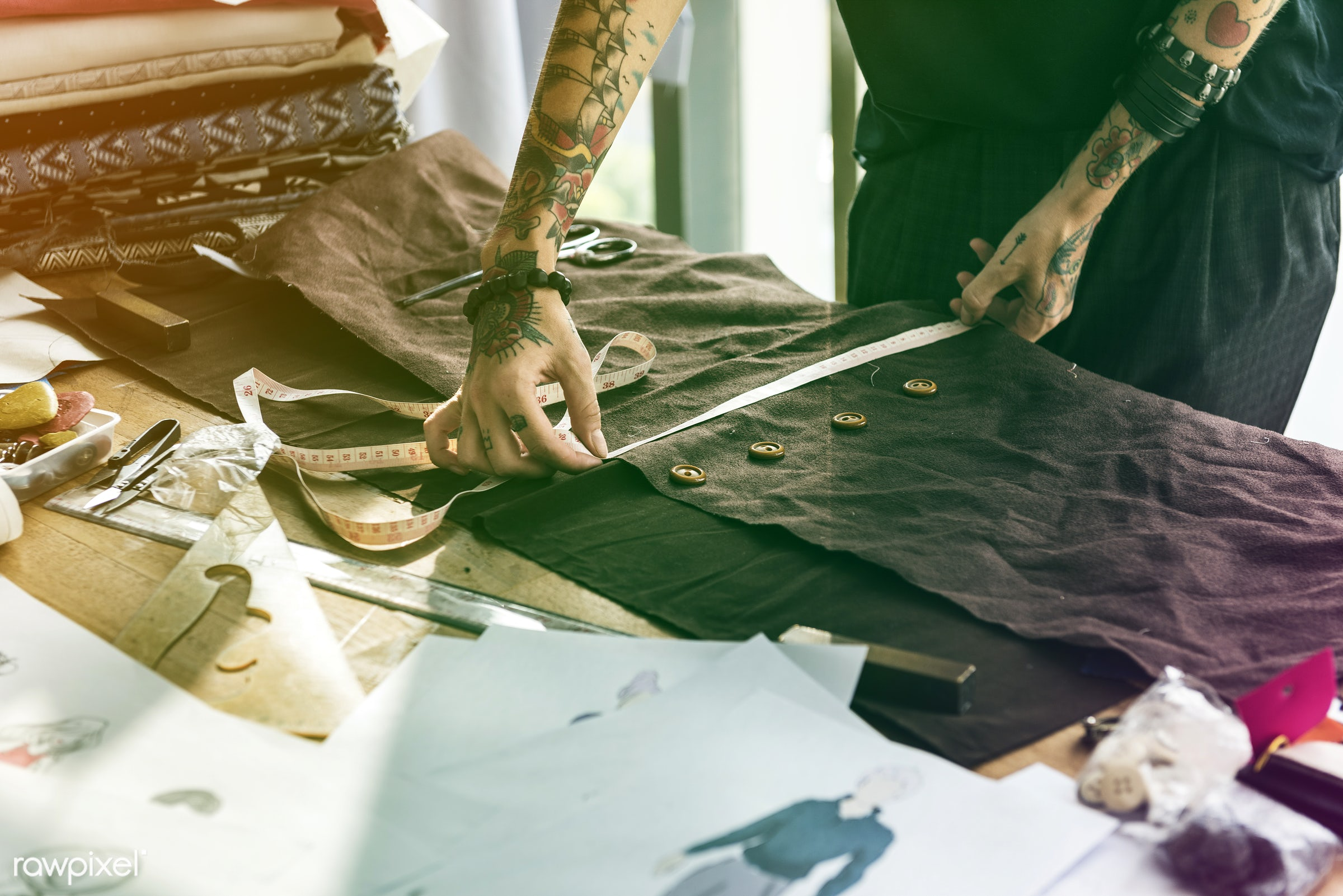 studio, store, handicraft, dressmaker, faded, vibrant, tailor made, woman, blend, lifestyle, tattoo, light, workshop,...