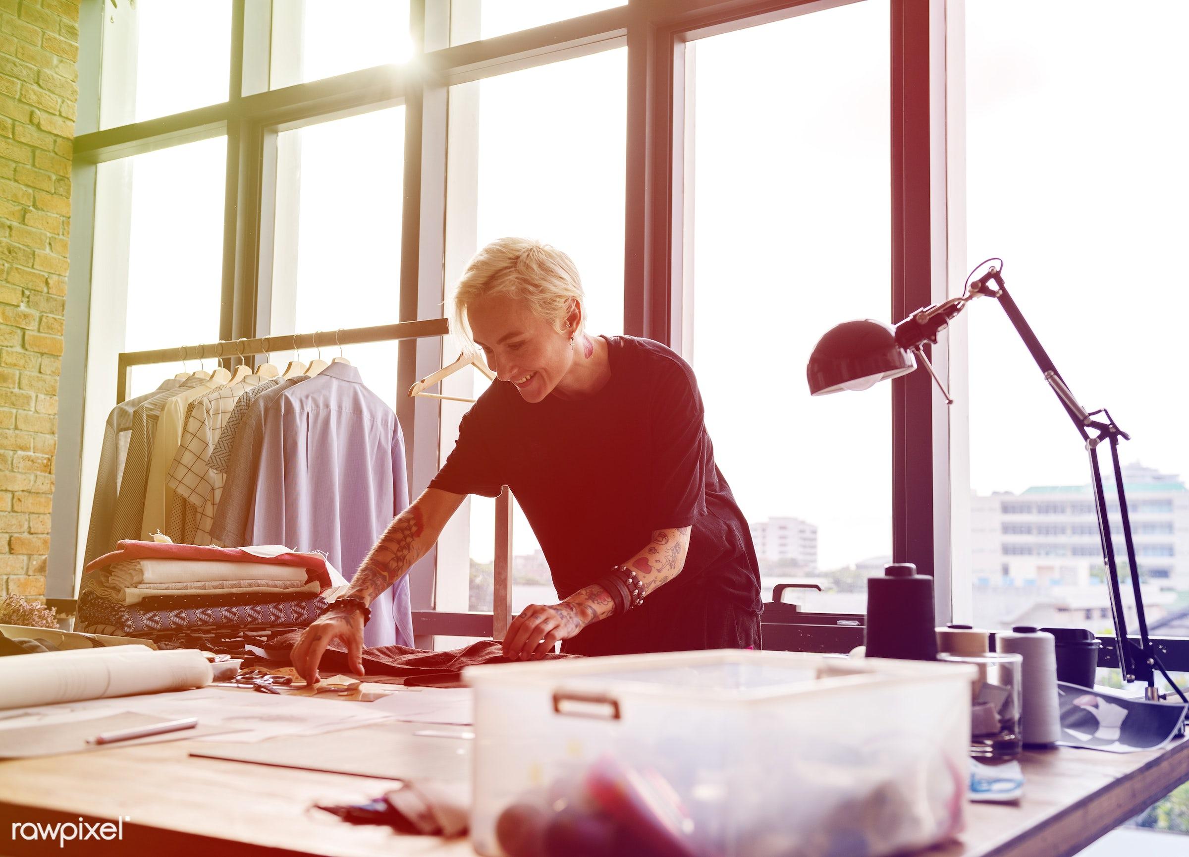 designing, dressmaker, faded, yellow, vibrant, selecting, inspiration, materials, threads, choosing, choosing materials,...