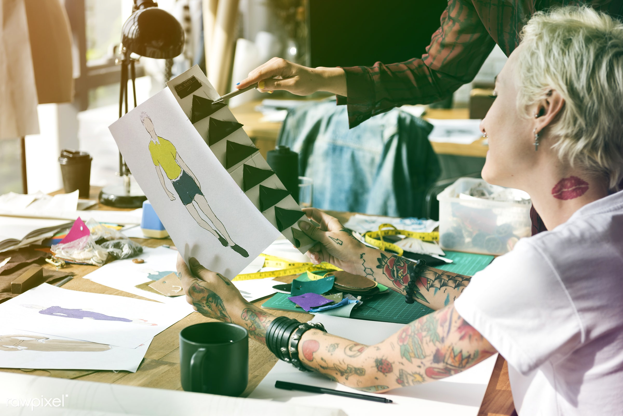 designing, dressmaker, selecting, inspiration, materials, threads, choosing, tattoo, choose, work, creative, clothes,...