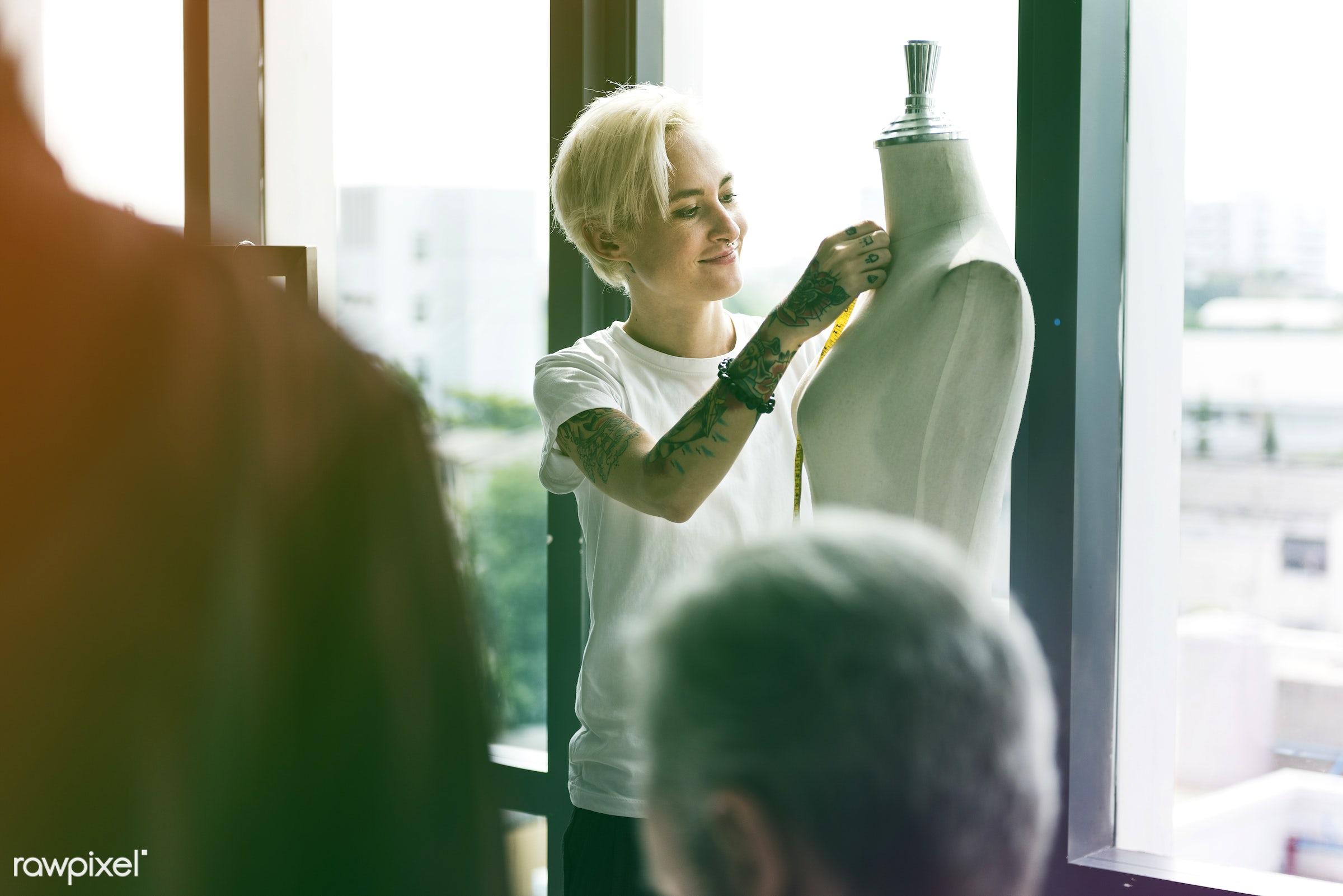 designing, dressmaker, faded, vibrant, mannequin, inspiration, measuring tape, materials, blend, light, creative, clothes,...