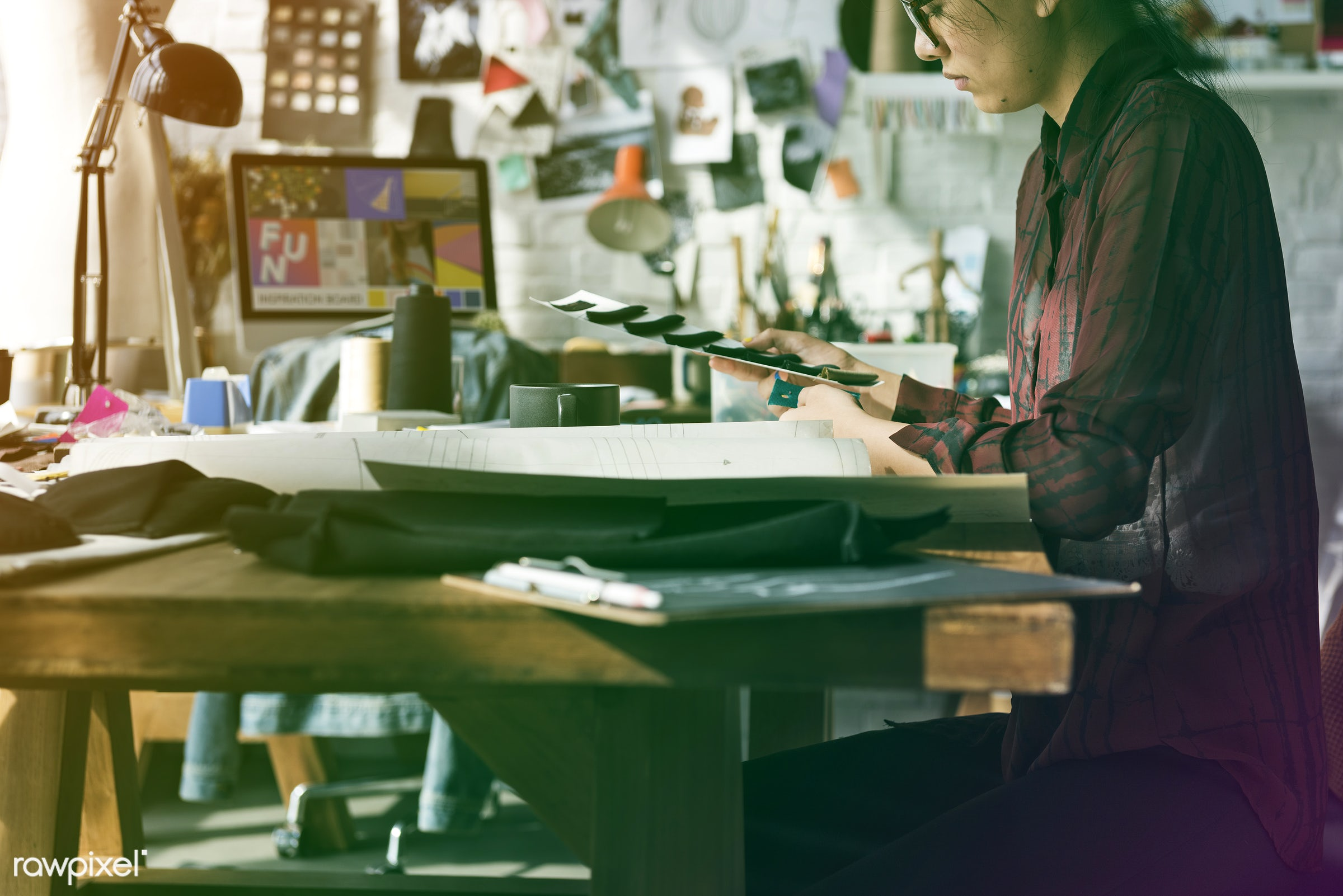 person, designing, dressmaker, selecting, people, inspiration, materials, threads, woman, choosing, choosing materials,...