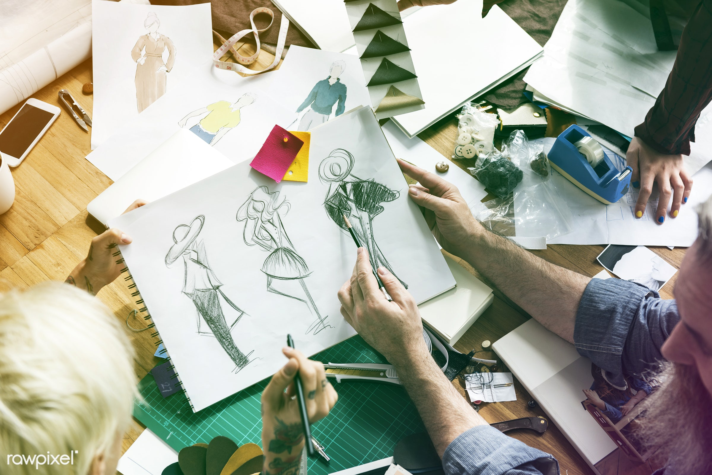person, discussion, arts, designing, people, teamwork, inspiration, woman, choosing, tattoo, work, trend, creative, clothes...