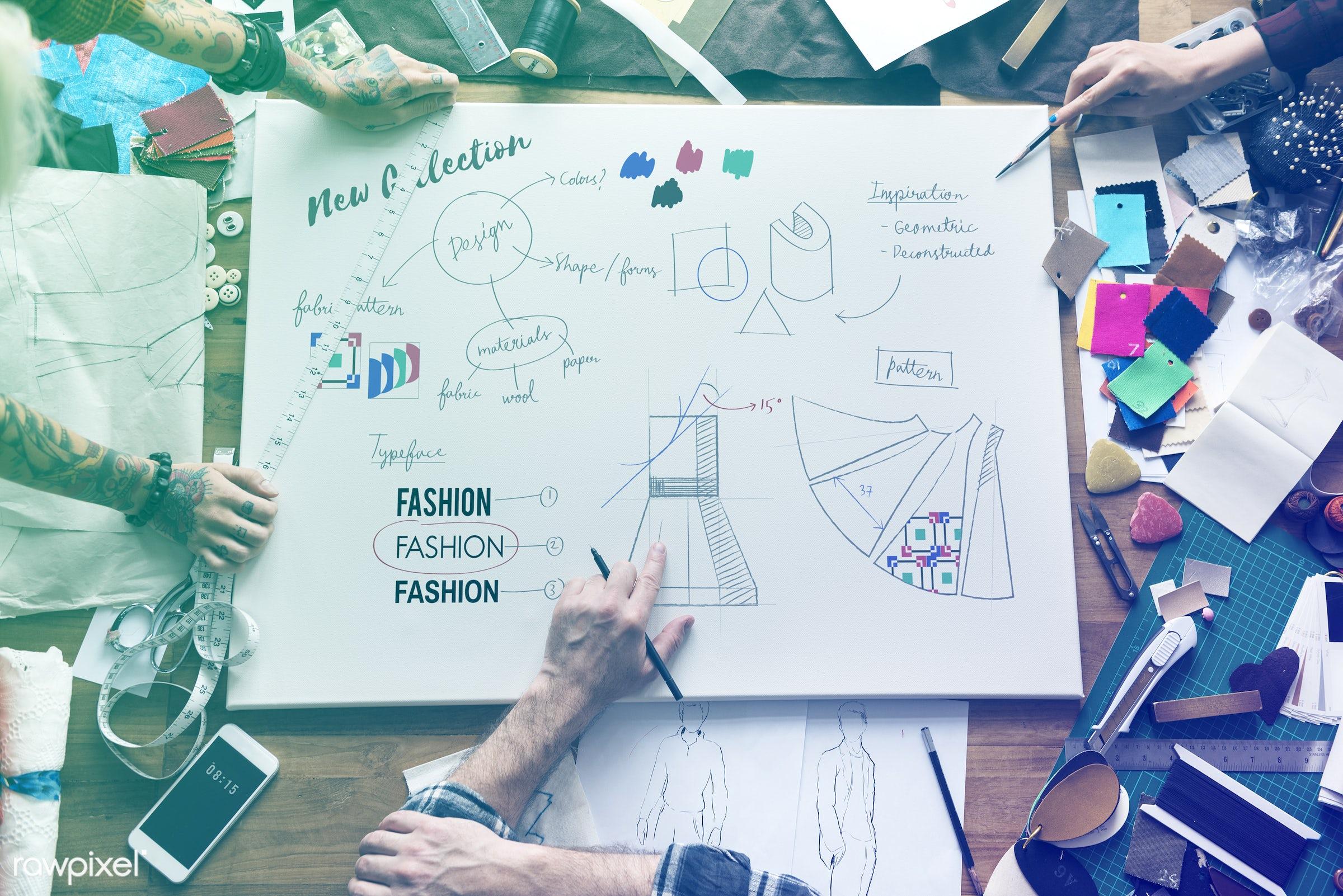 manufacturing, faded, design industry, vibrant, decor, draw, designers, light, shirt, work, workshop, fashion designing,...