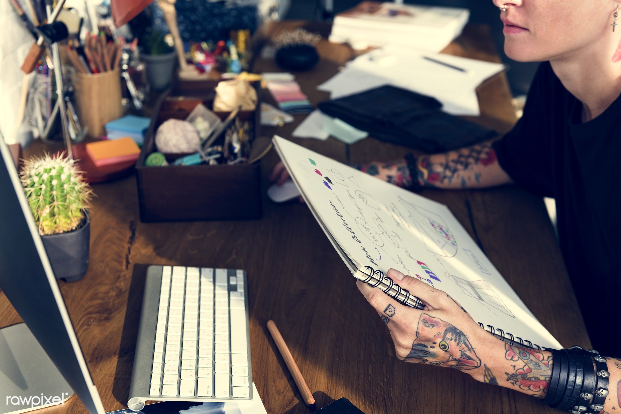 trends, analyzing, fashion, fashion notes, sketchpad, new ideas, profession, concentrating, focusing, trendy, magazine,...