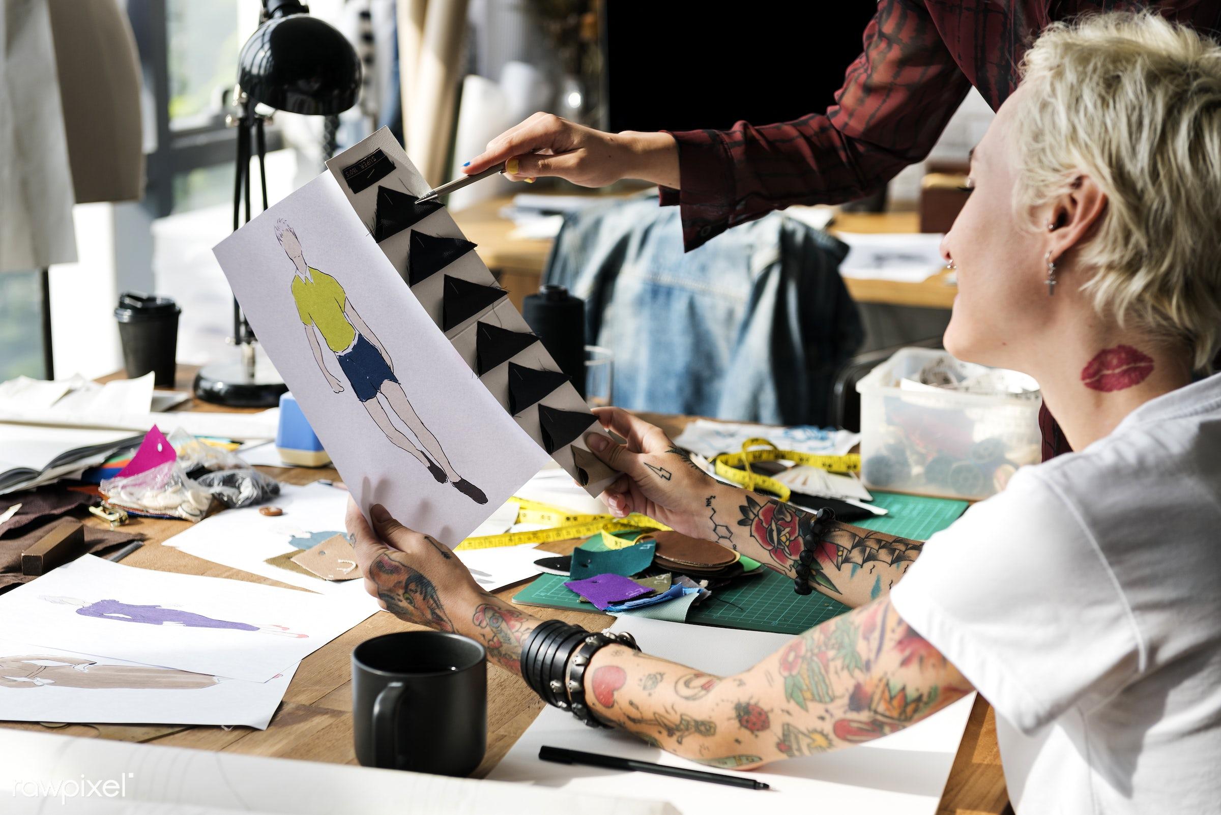 model, fashion, clothing materials, measure, designing, clothing, dressmaker, garment, indoors, trendy, selecting,...