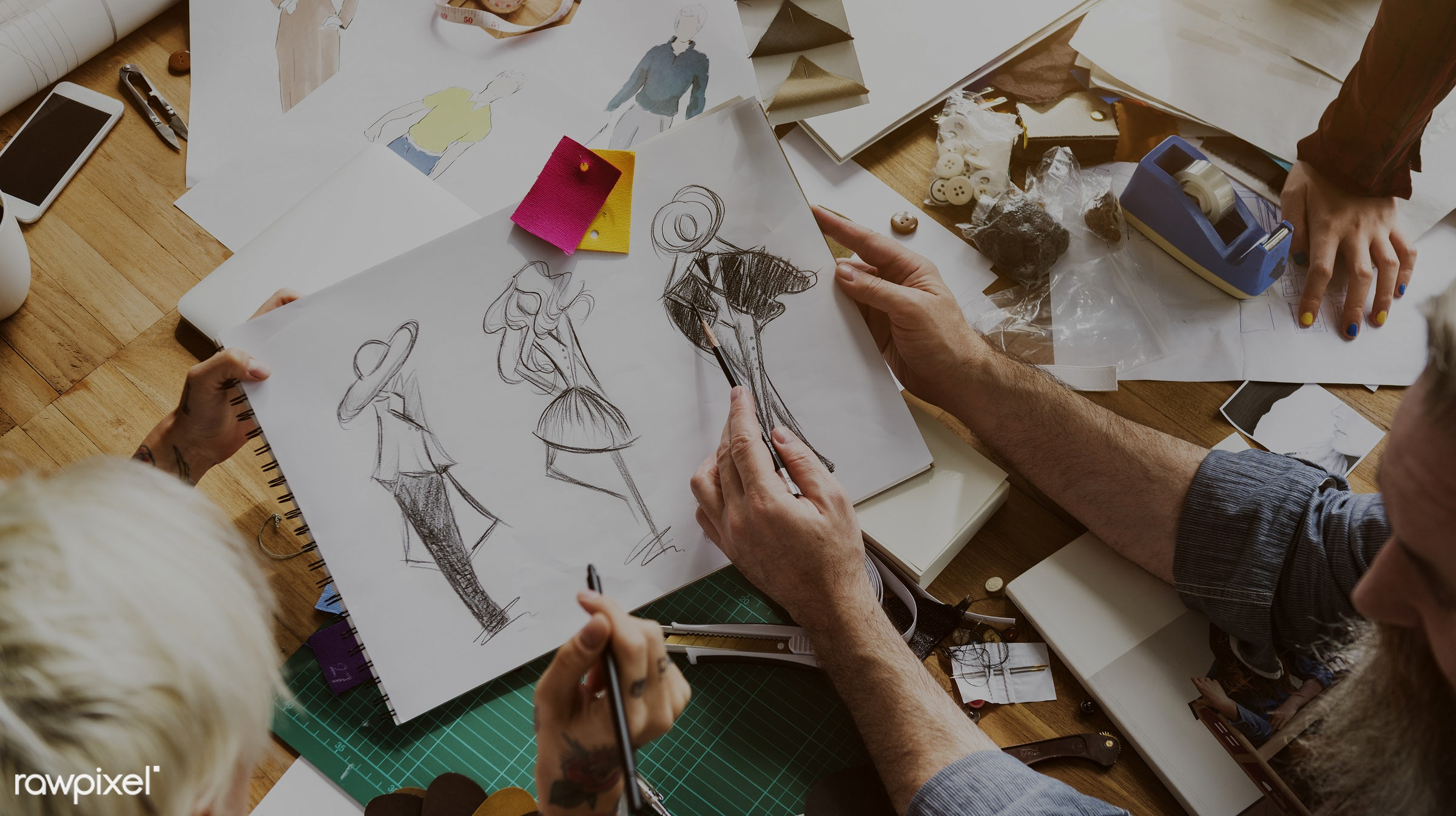 fashion, discussion, arts, paper, trendy, imagination, creativity, drawing, hand, teamwork, sharing, inspiration, style,...