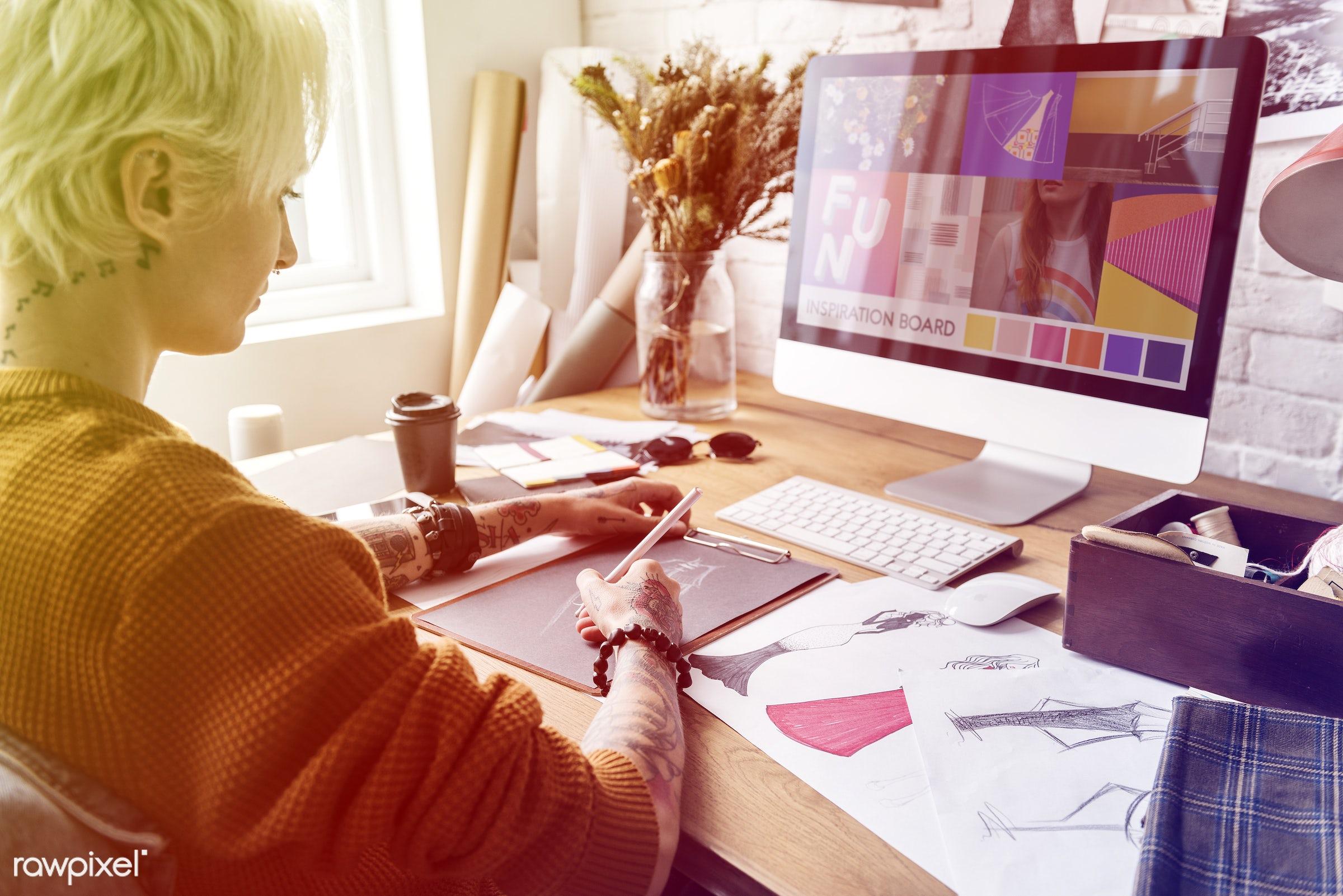manufacturing, design industry, draw, decor, designers, tattoo, shirt, work, workshop, fashion designing, creative, clothes...