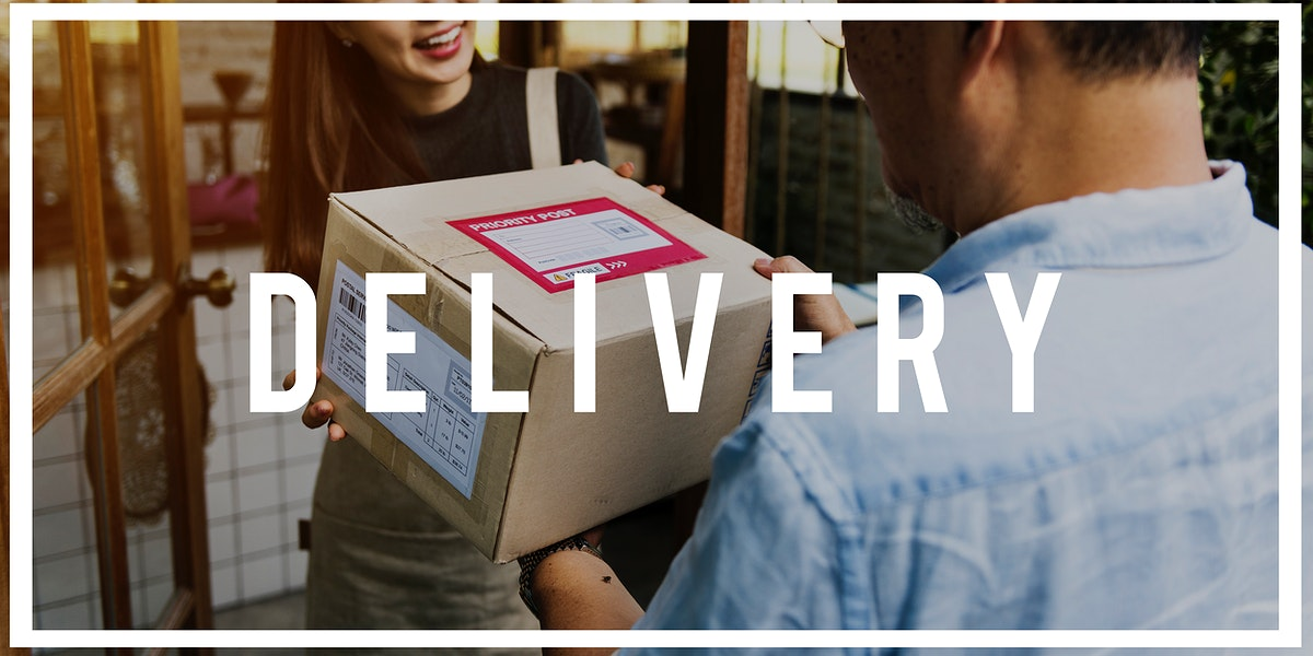 Deliveryman handingover parcel to customer