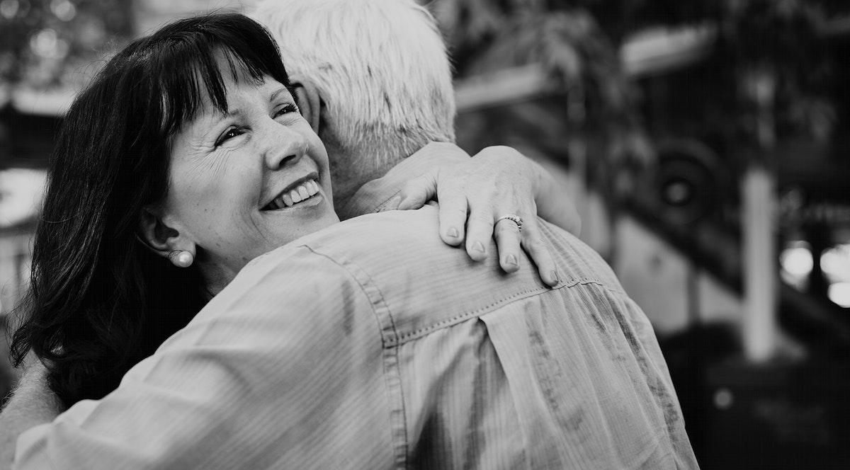 Senior couple love sweet embrace
