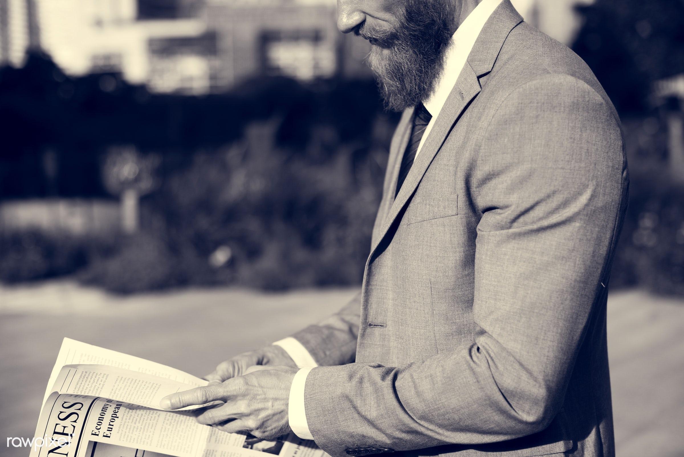 suit and tie, tie, sad, business news, business, caucasian, critical, hands, read, middle age, crisis, men, man, businessmen...