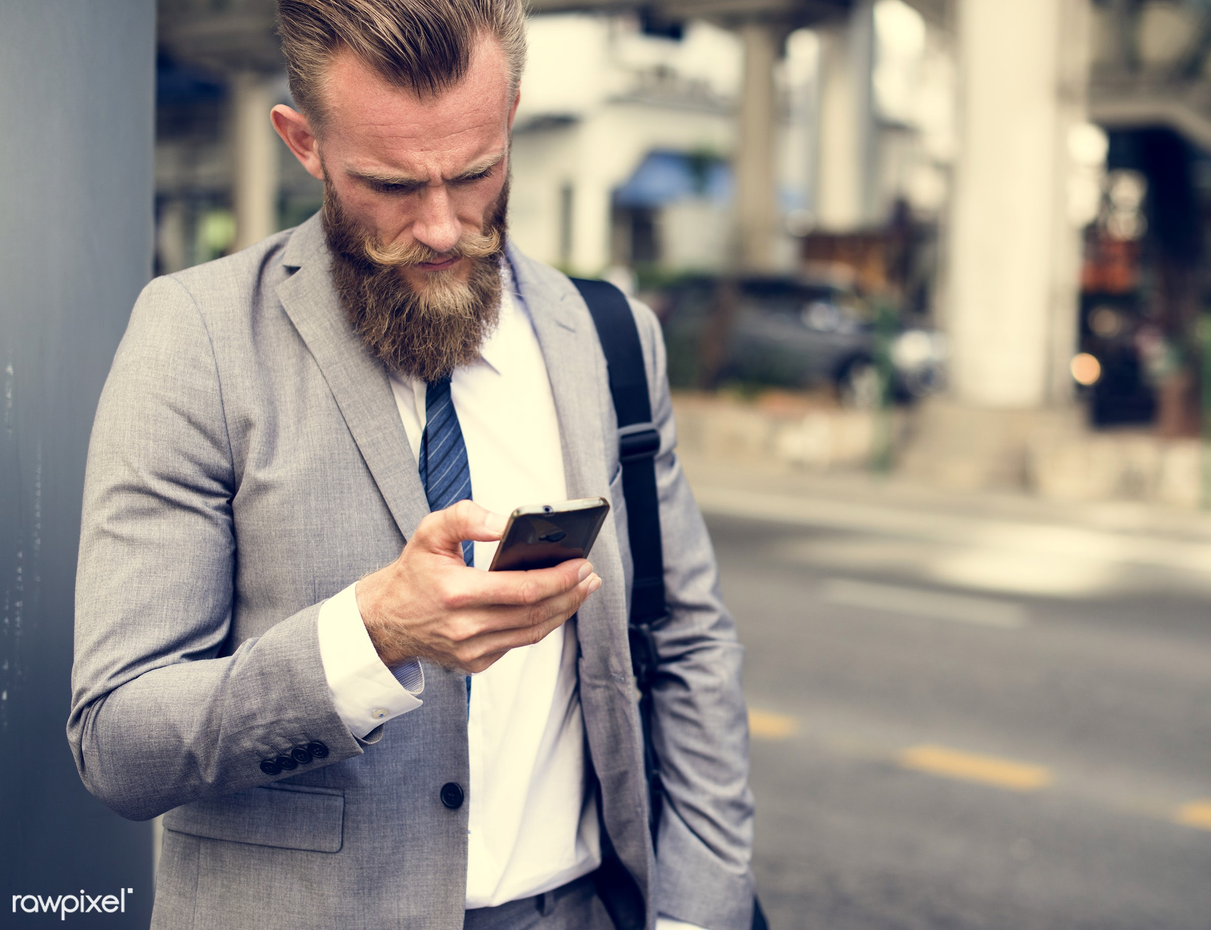 adult, after work, beard, bearded, blond, business, businessmen, call, candid, caucasian, cell phone, communication,...