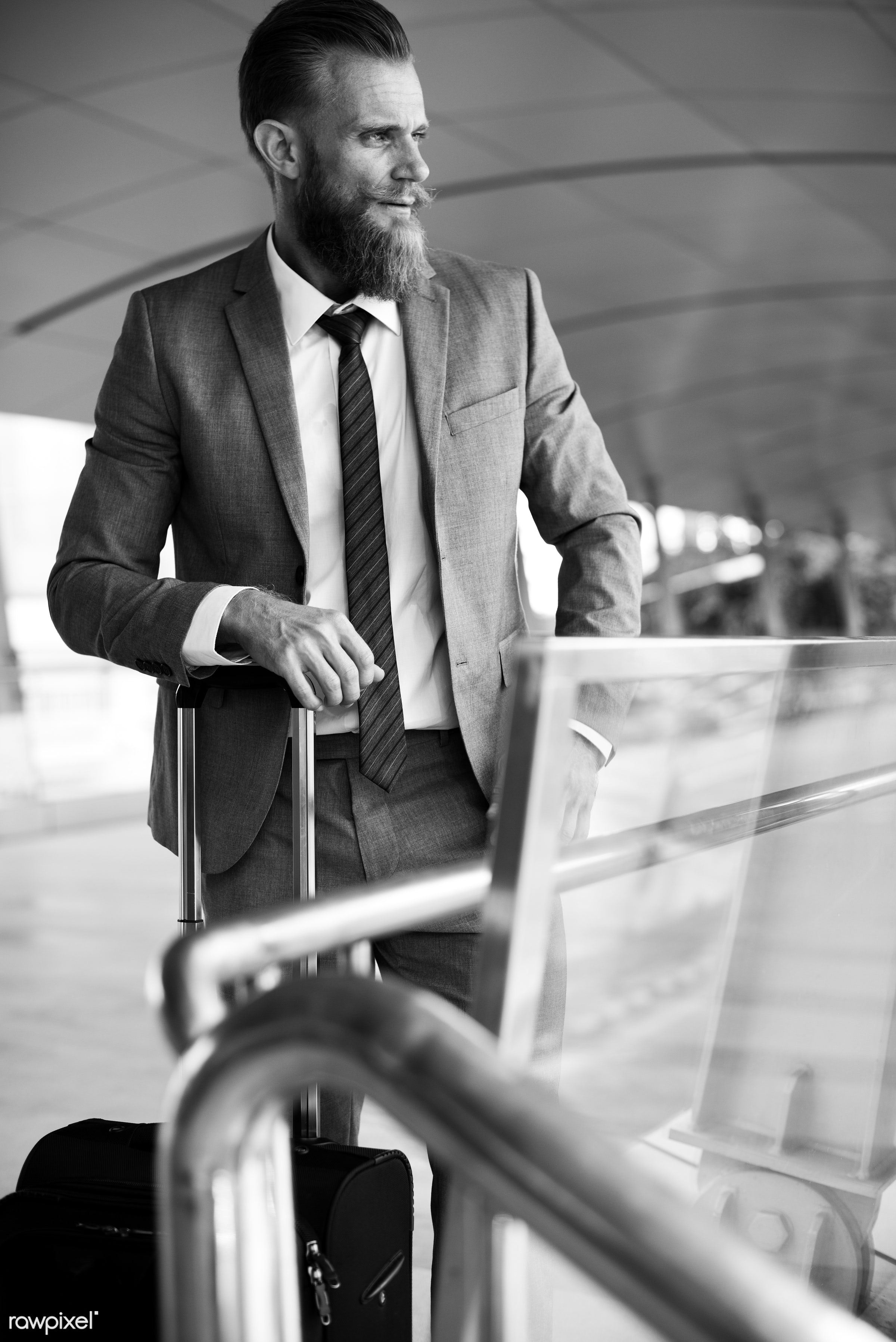 expression, business trip, update, face, person, suit and tie, white collar worker, busy, luggage, indoors, wait, travel,...