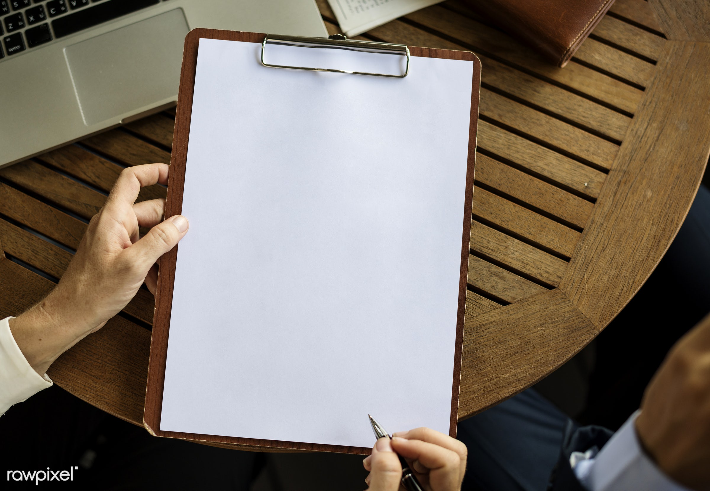 Business people working and a copy space of a clipboard - blank, blank space, board, business, businessmen, businesswomen,...