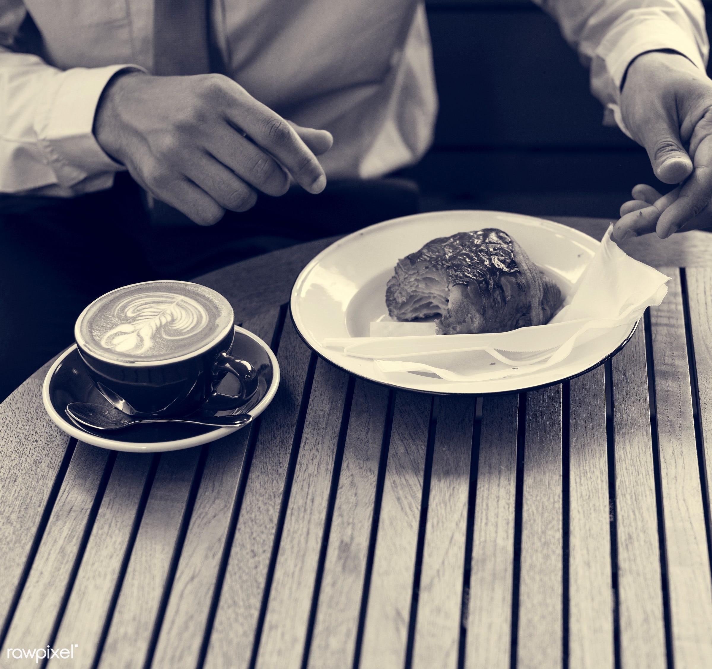 cup, person, late art, tie, breakfast, spoon, appetizer, people, break, bakery, hands, cappuccino, bread, coffee cafe, drink...
