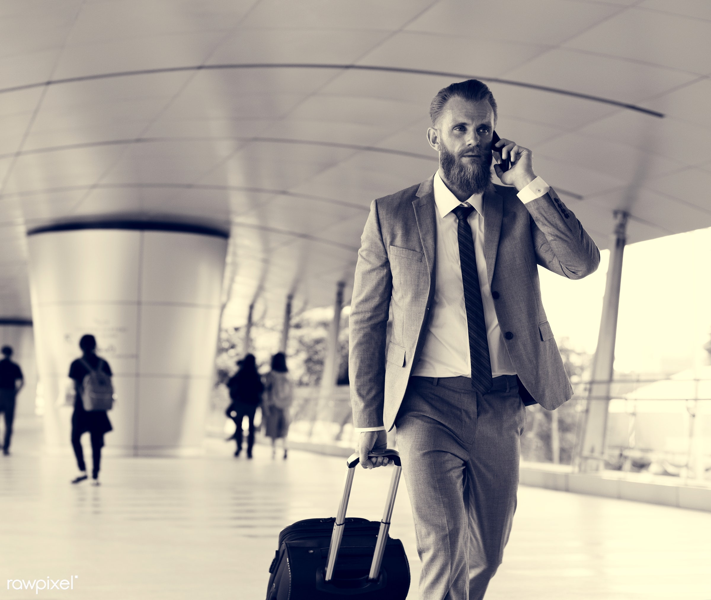 update, business trip, expression, call, face, phone, person, suit and tie, white collar worker, indoors, busy, luggage,...