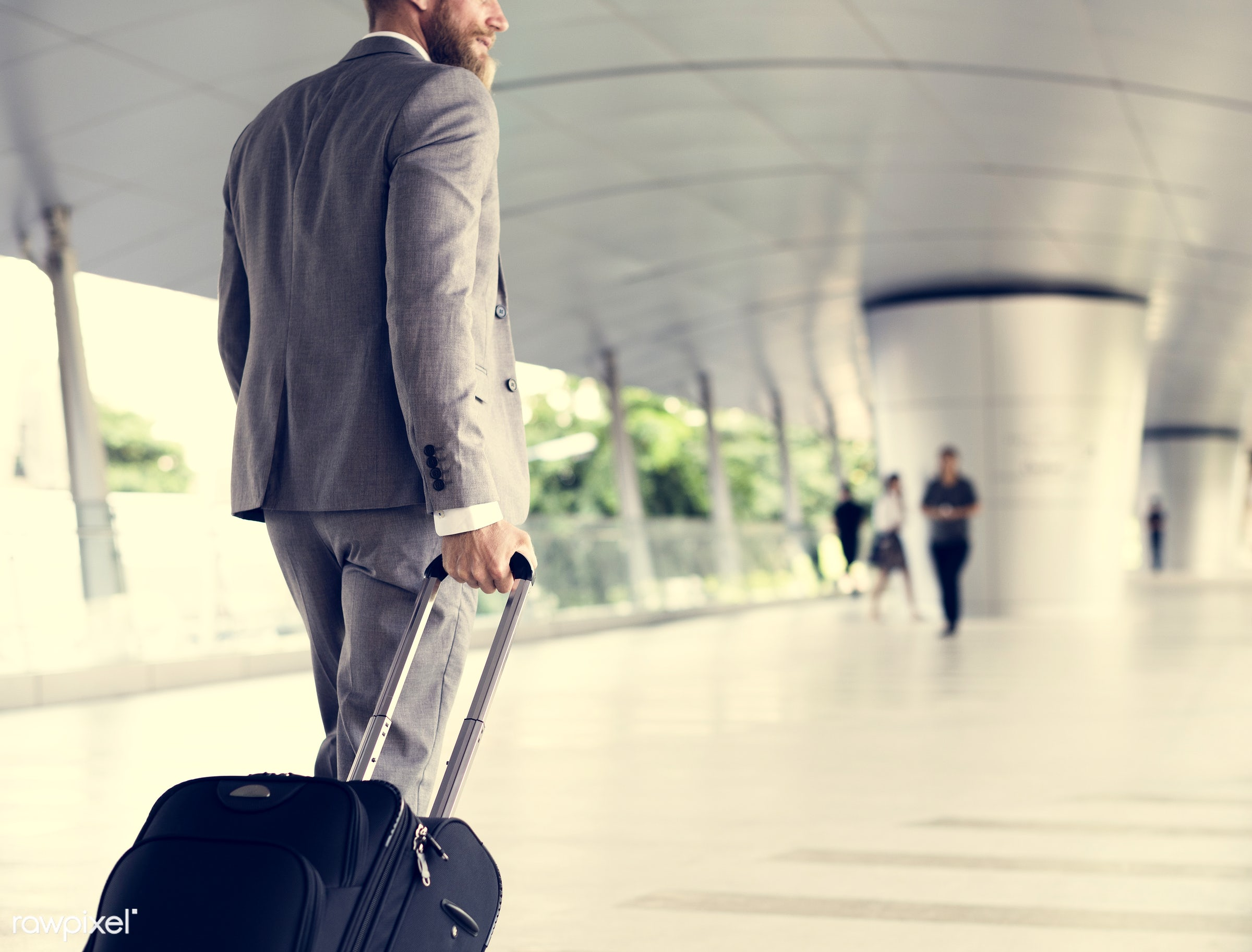 business trip, expression, update, face, person, suit and tie, white collar worker, indoors, luggage, busy, travel, wait,...