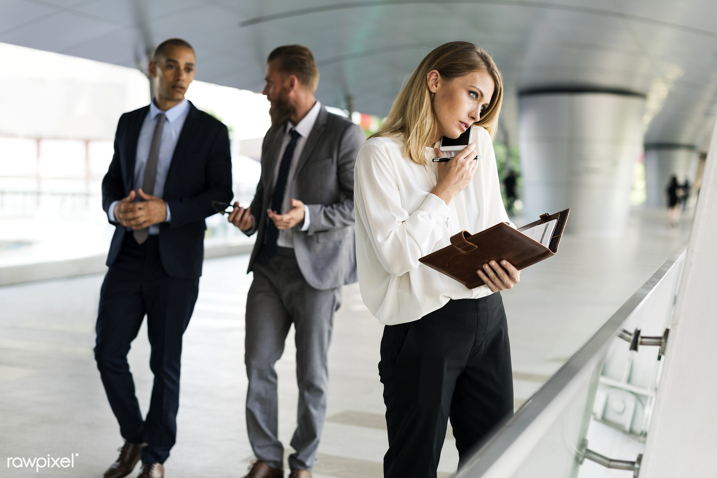 Business people on their daily routine - adult, african american, business, businessmen, businesswomen, busy, calling,...