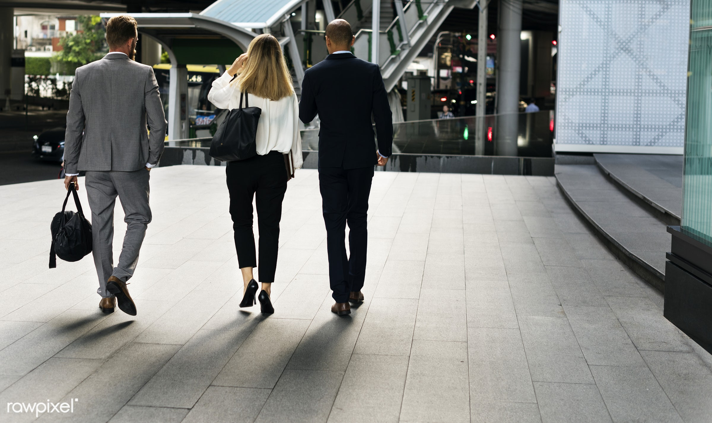 Business people on their way home - adult, african american, back, blond, blonde, break, bridge, building, business,...