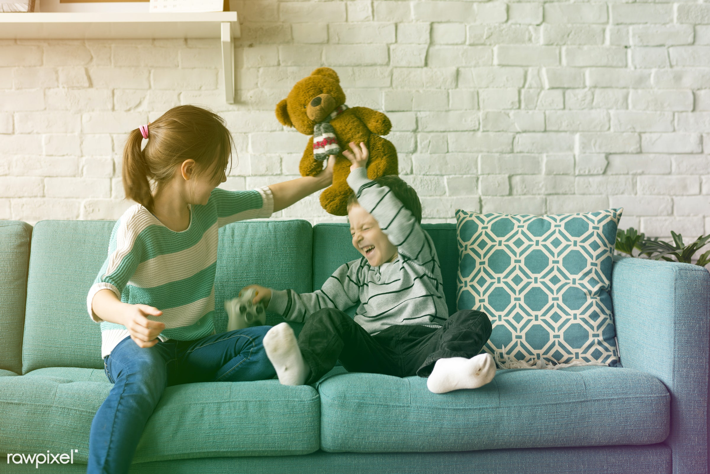 activity, brother, caucasian, cheerful, children, couch, daughter, enjoyment, european, family, filter, french, fun, game,...