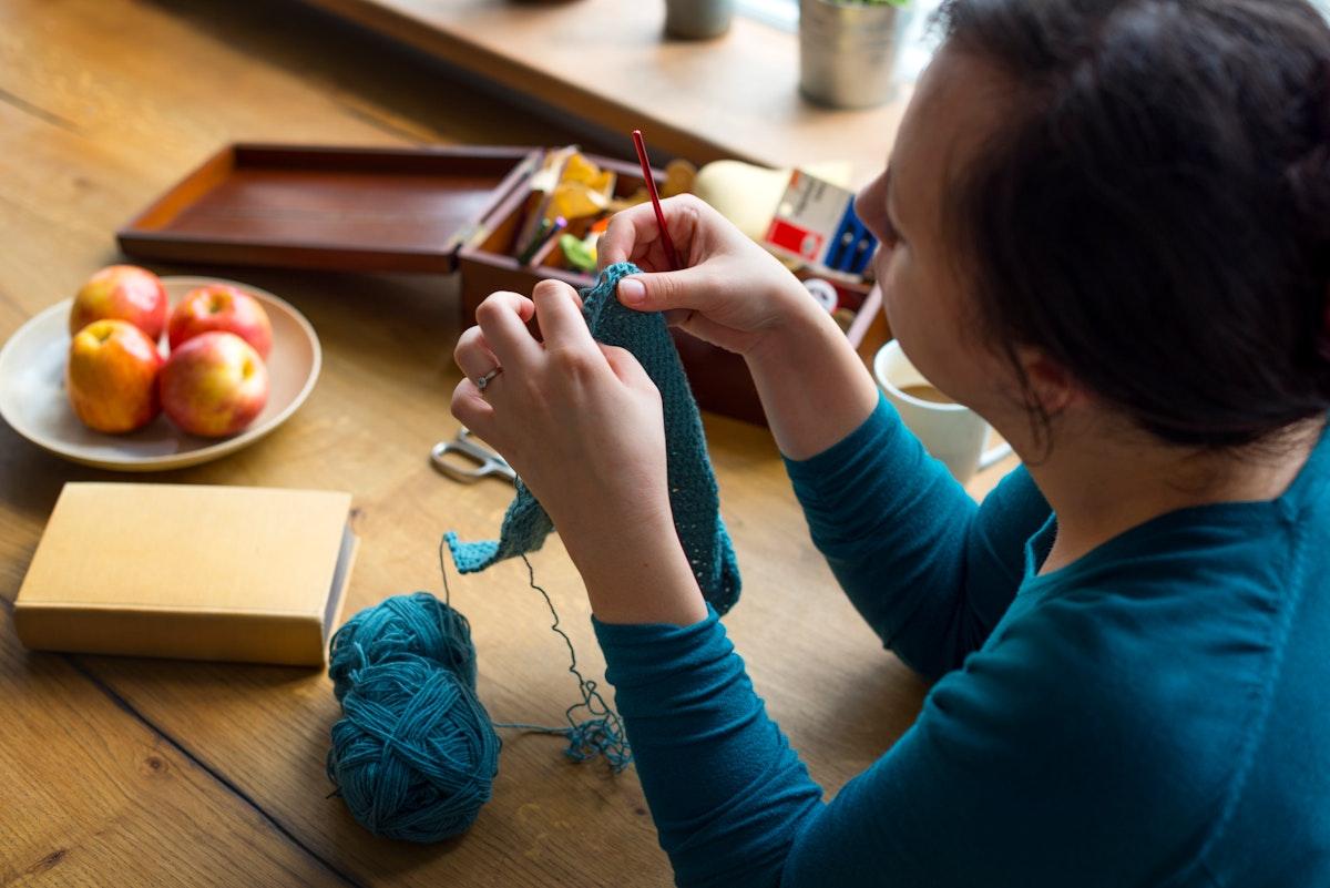 Woman Knitting Handicraft Hobby Homemade