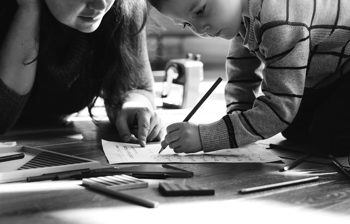 Children having fun drawing together