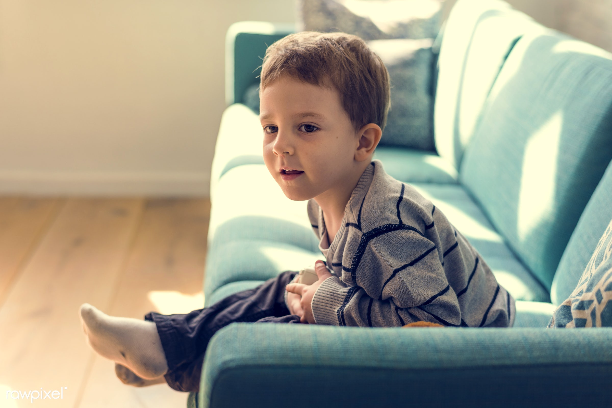home, relax, cute, kid, caucasian, child, sofa, casual, living room, childhood, cheerful, smiling, happiness, leisure, son,...